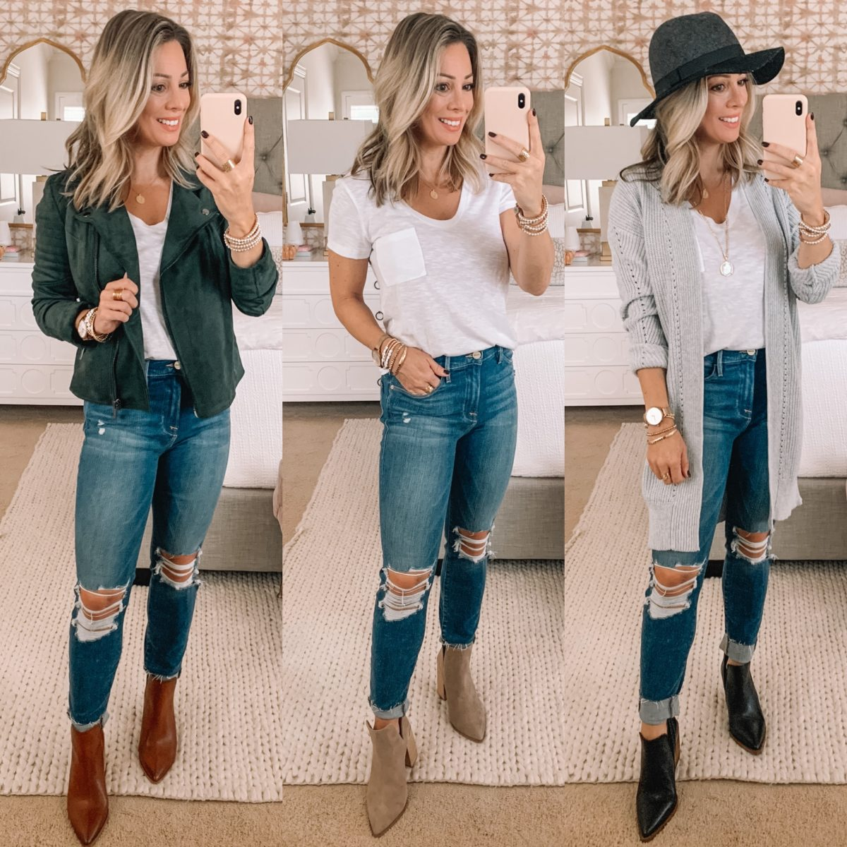 Nordstrom Sale Finds, Green Moto Jacket, White Tee, Jeans, Booties, Cardigan, Hat