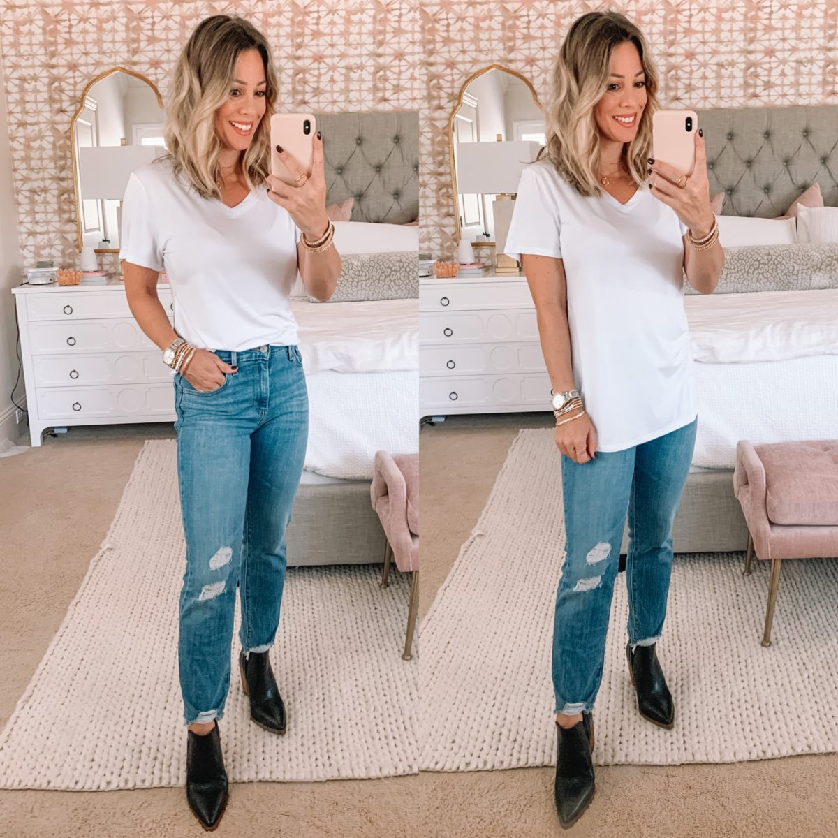 Amazon Fashion Faves, V Neck Tee, Jeans, Booties
