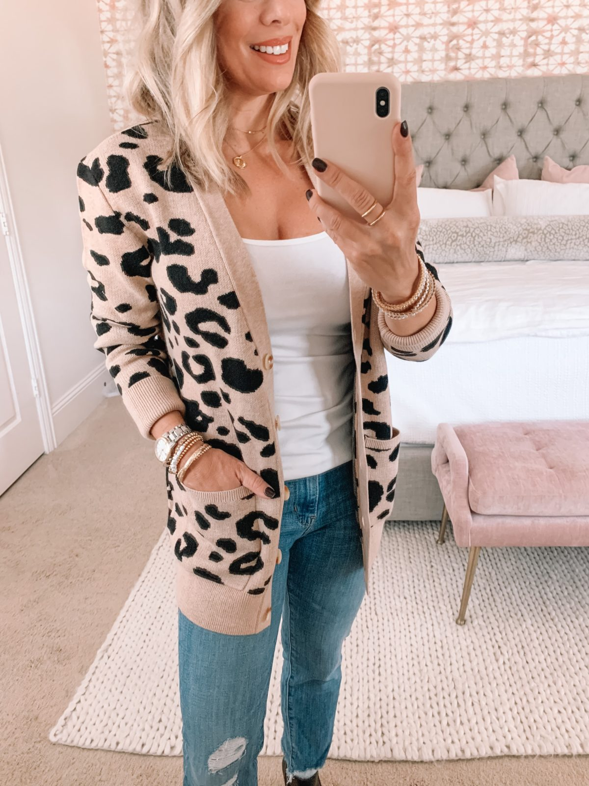 Amazon Fashion Faves, Cami, Leopard Sweater, Jeans, Booties
