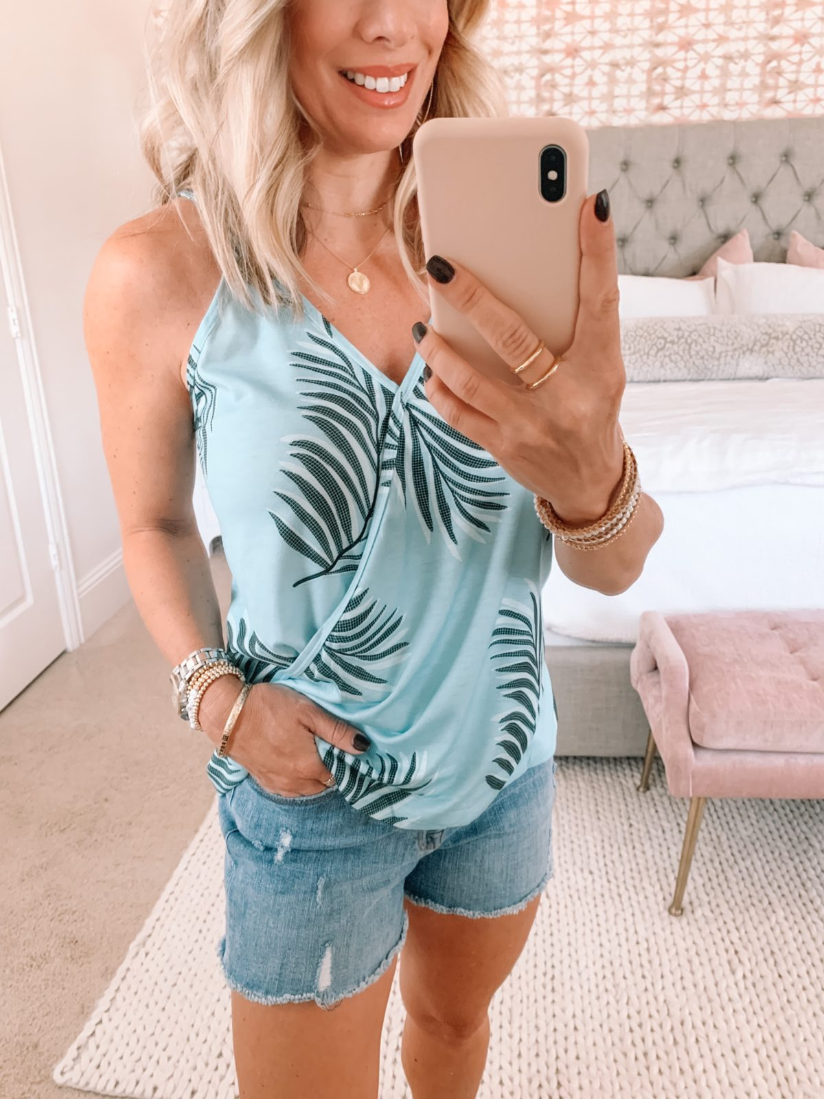 Amazon Fashion Faves, Palm Print Tank, Shorts, Studded Slides