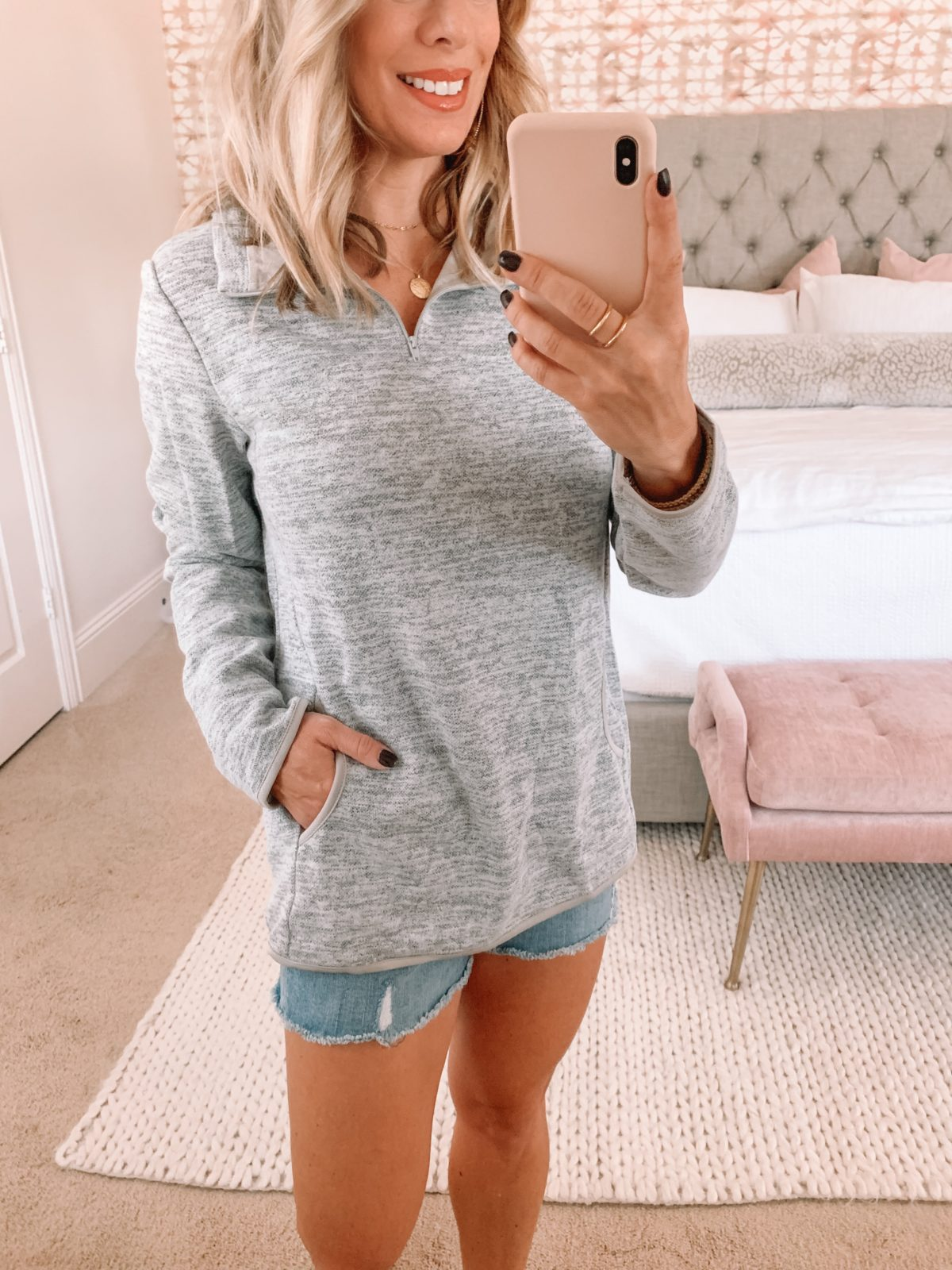 Amazon Fashion Faves, Zipper Hoodie, Denim Shorts, Studded Sneakers