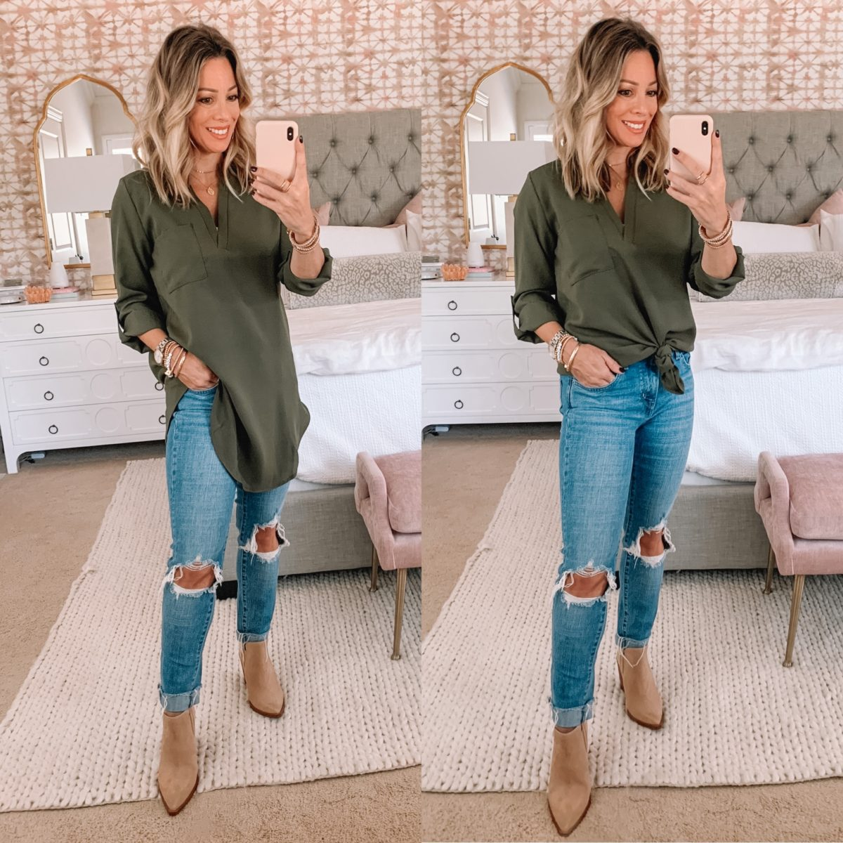 Amazon Fashion Faves, Gree Tunic Top, Jeans, Booties