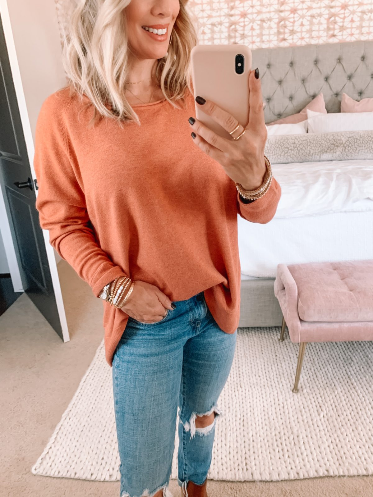 Amazon Fashion Faves, Orange Sweater, Jeans, Booties