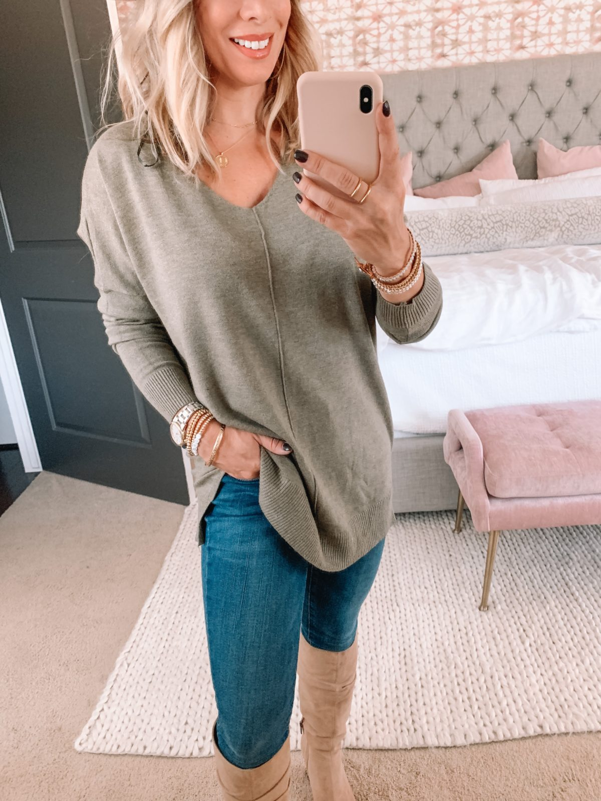 Amazon Fashion Faves, Tunic Sweater, Jeans