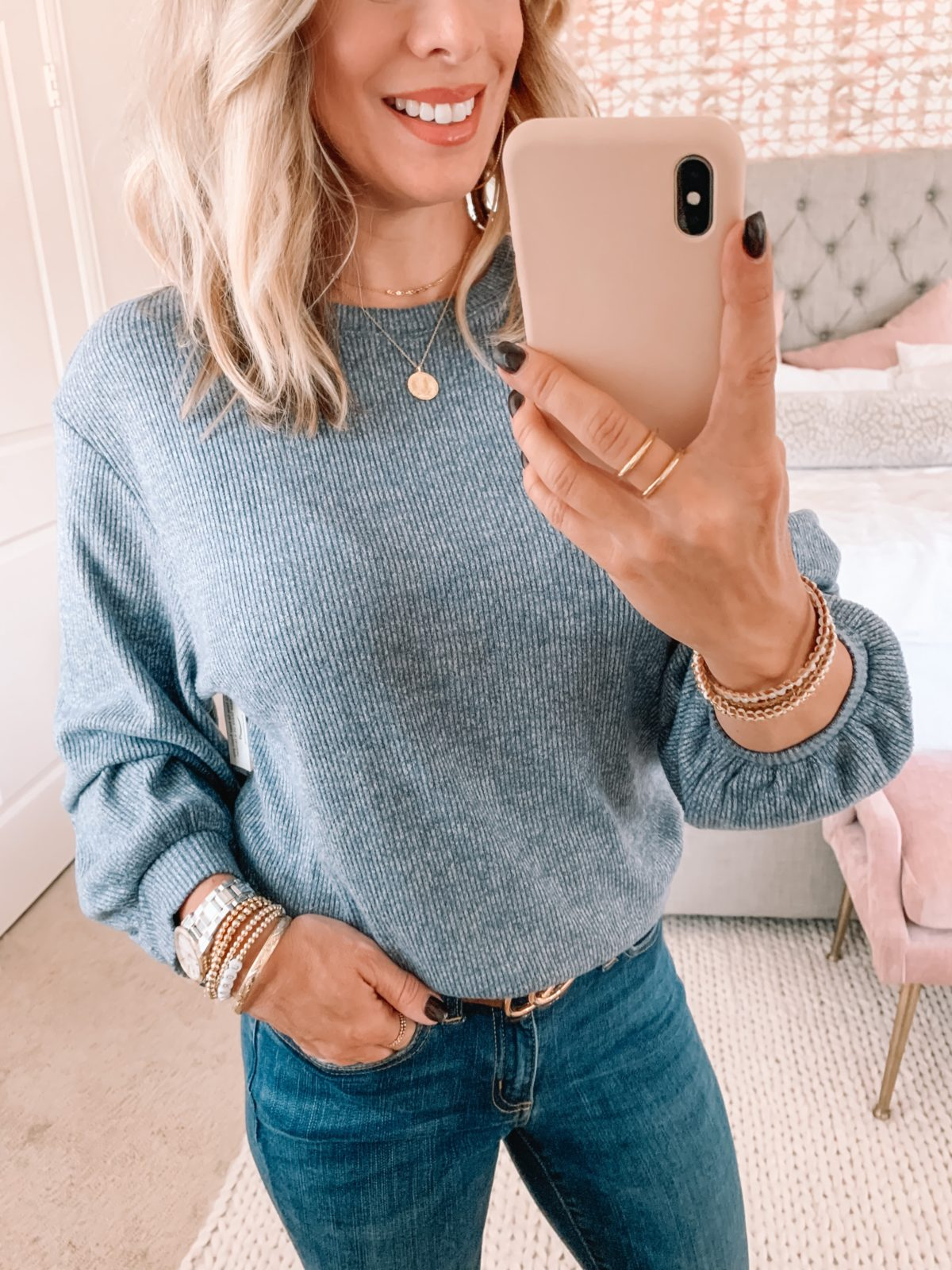 Amazon Fashion Faves, Blue Puff Sleeve Sweater, Jeans