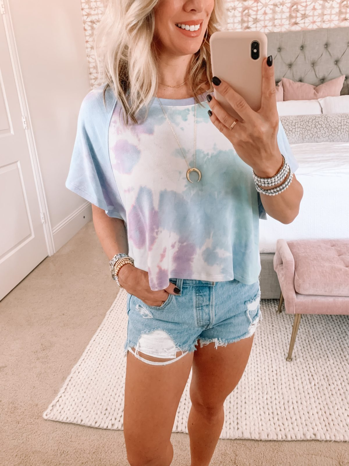 Red Dress Fashion Finds, Tie Dye Top, Jeans Shorts