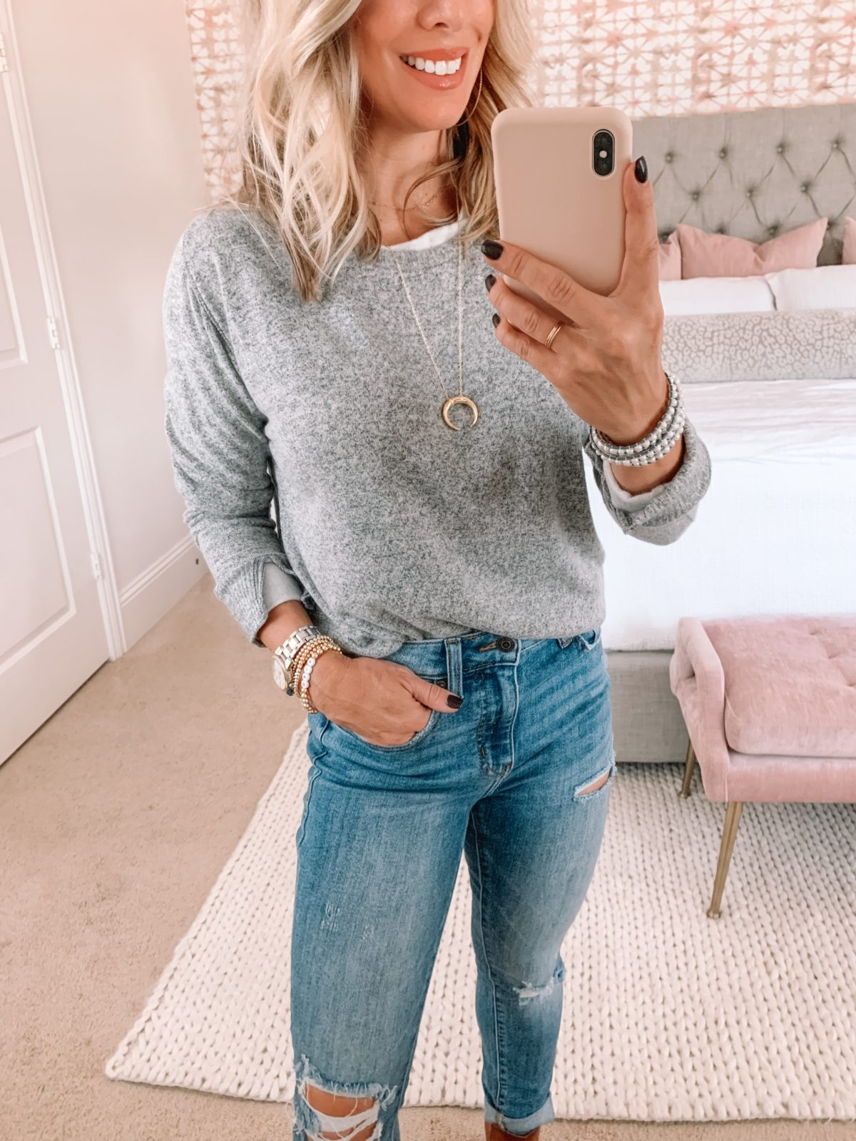 Red Dress Fashion Finds, Sweater, Jeans