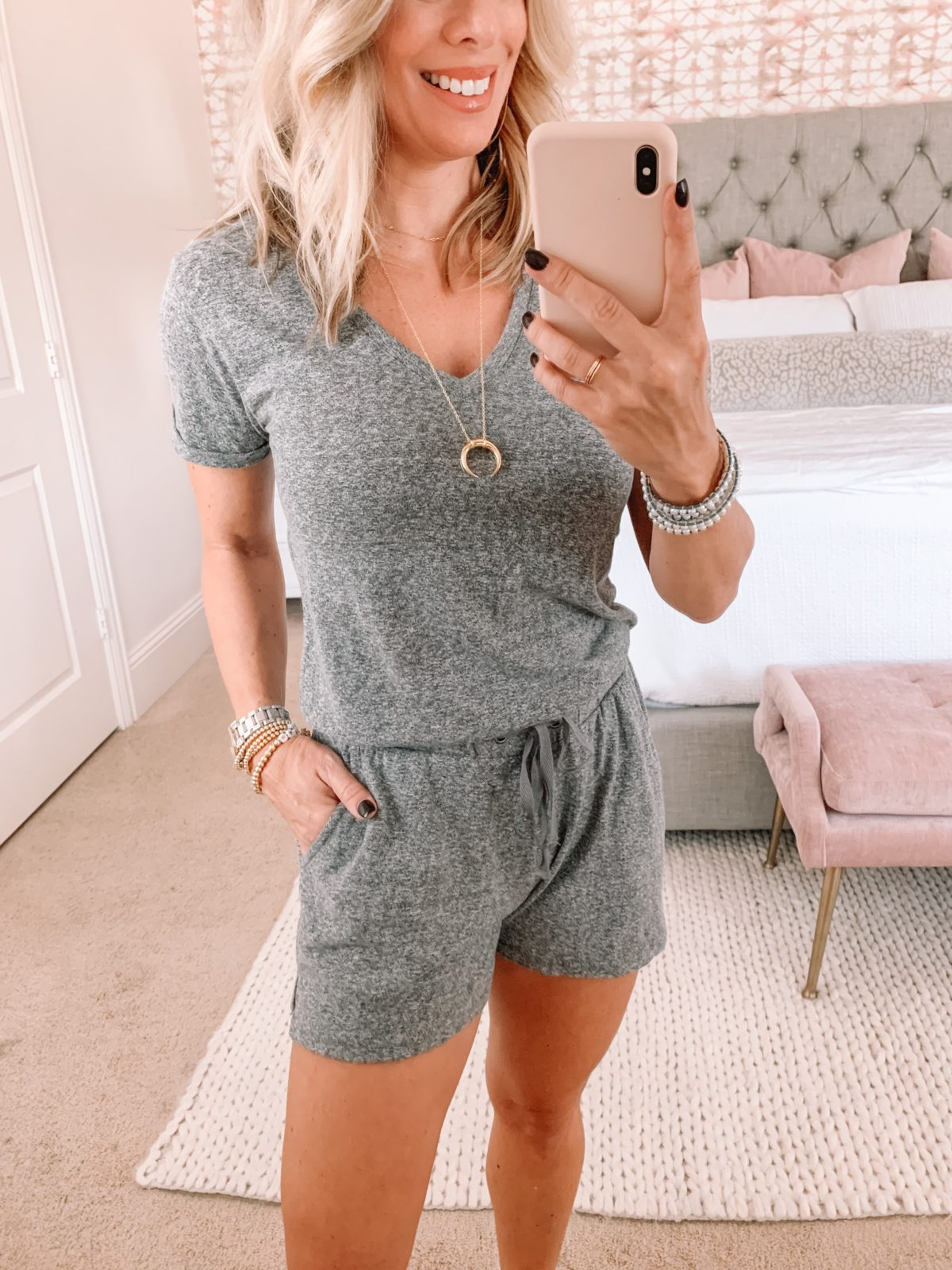 Red Dress Fashion Finds, Gray Romper