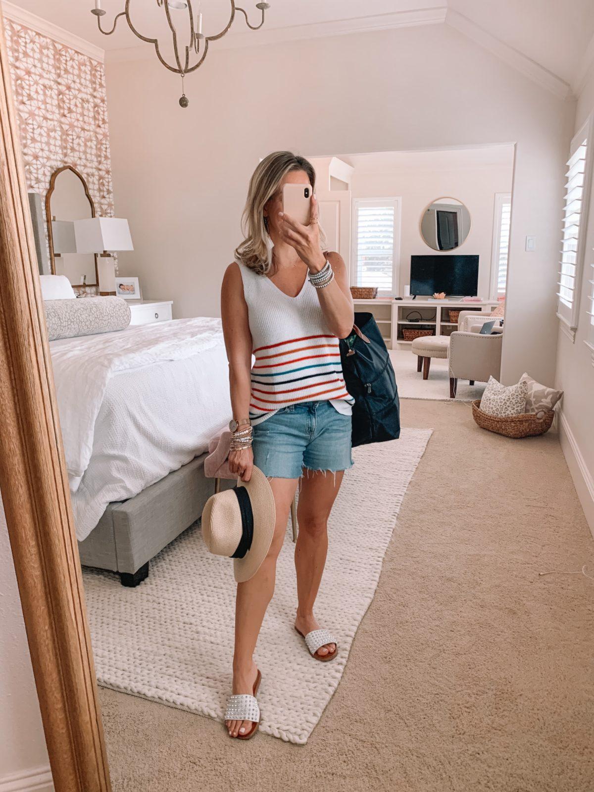 Amazon Fashion Finds, Striped Sweater Tank, Cut Off Shorts, Studded Slides, Hat