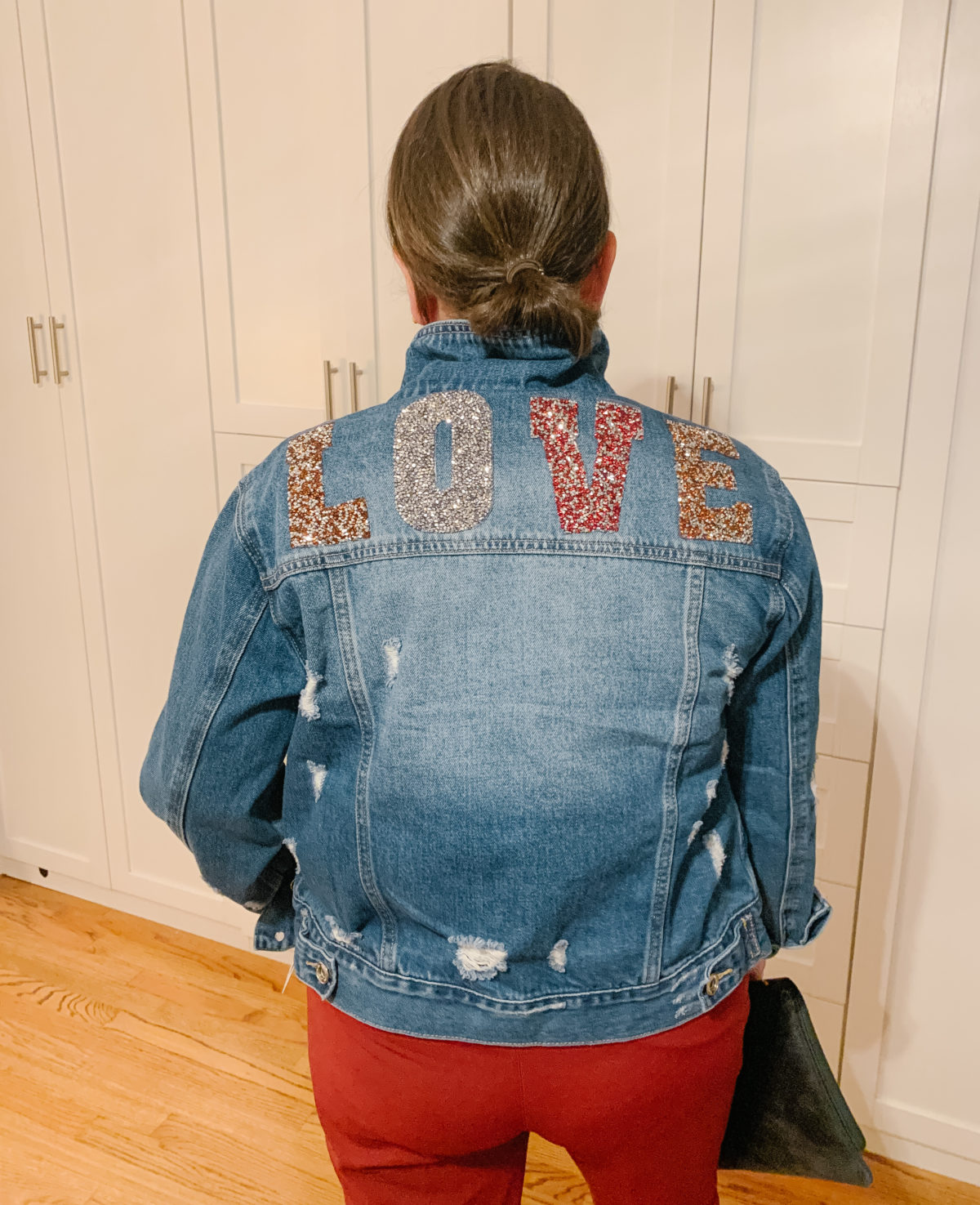 Nordstrom Sale What Ali-Shaun Bought, Denim Jacket, Red Pants