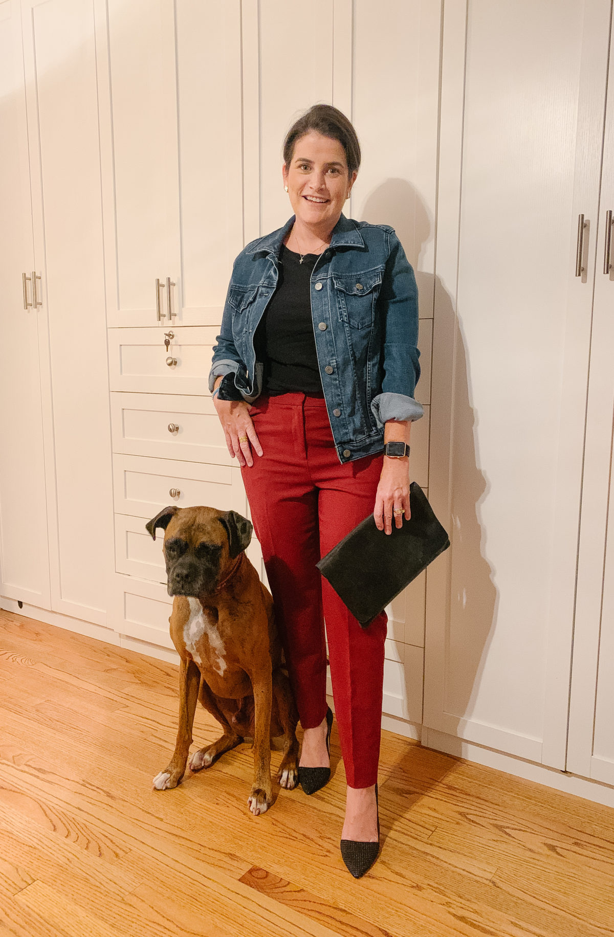Nordstrom Sale, What Ali-Shaun Bought, Denim Jacket, Red Pants, Black tee, Black Clutch