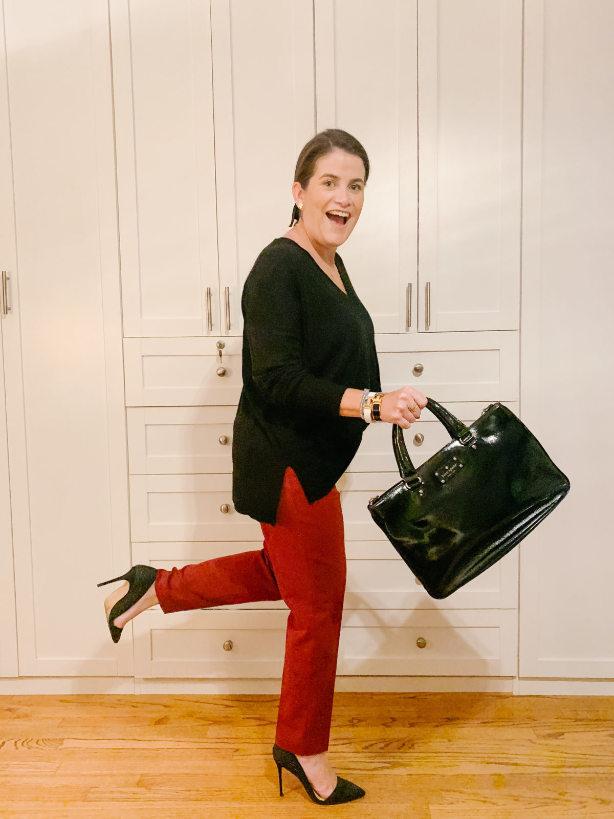 Nordstrom Sale, What Ali-Shaun Bought, Black V-Neck Sweater, Red Pants, Studded Heels, Tote