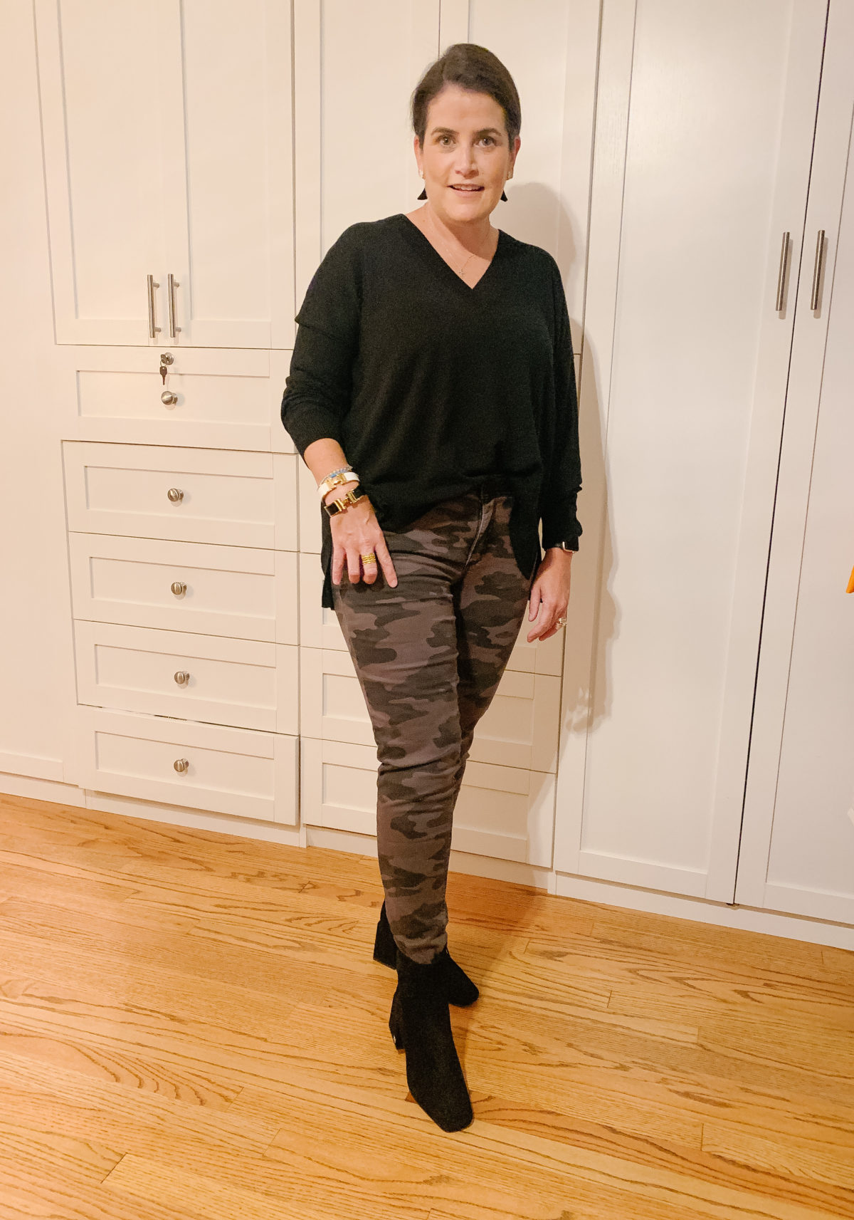Nordstrom Sale, What Ali-Shaun Bought, Black V-Neck Sweater, Camo Pants, Booties