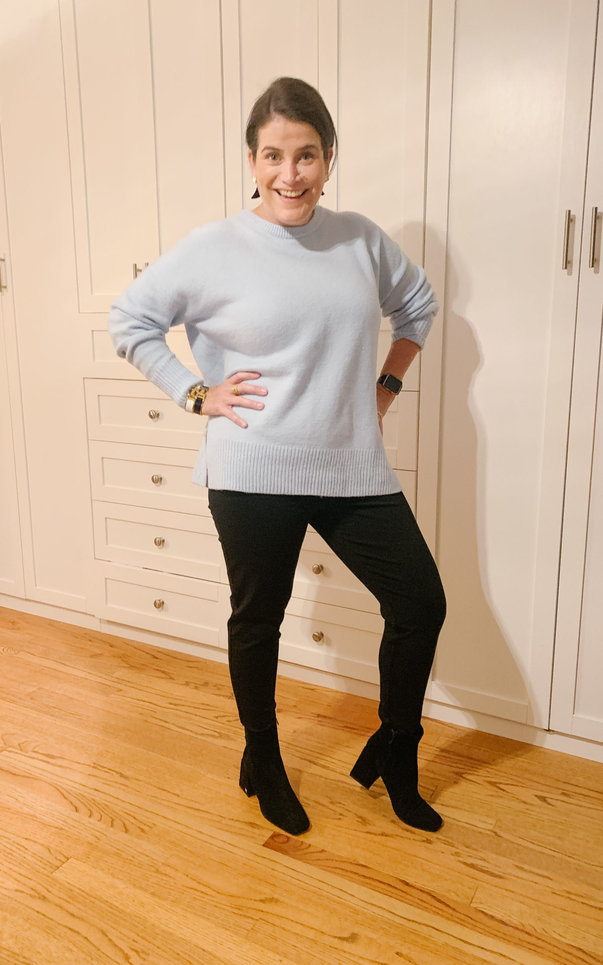 Nordstrom Sale, What Ali-Shaun Bought, Blue Crew Neck Sweater, Black Jeans,Booties