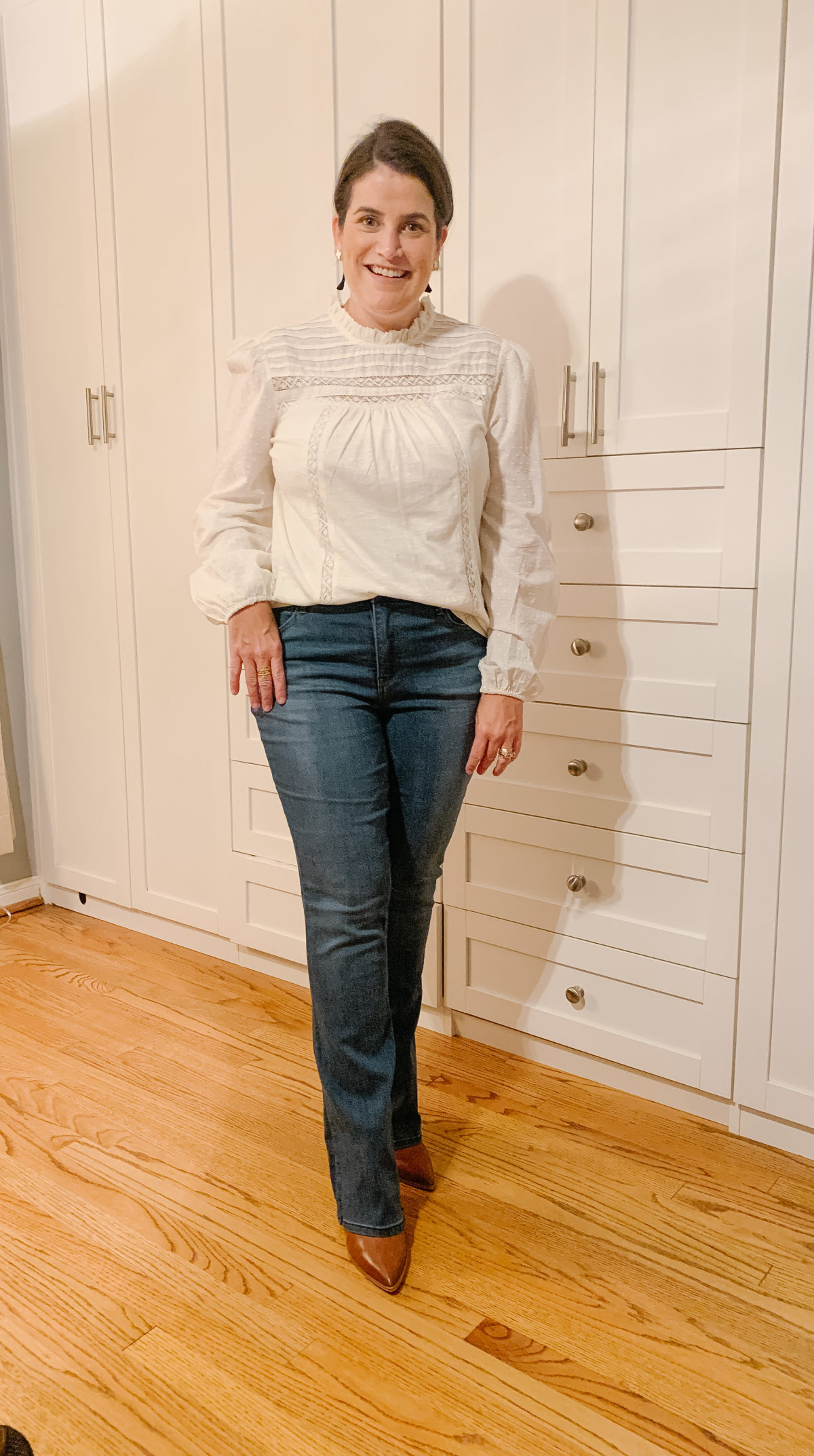 Nordstrom Sale, What Ali-Shaun Bought, White Pin Tuck Blouse, Bootcut Jeans, Booties