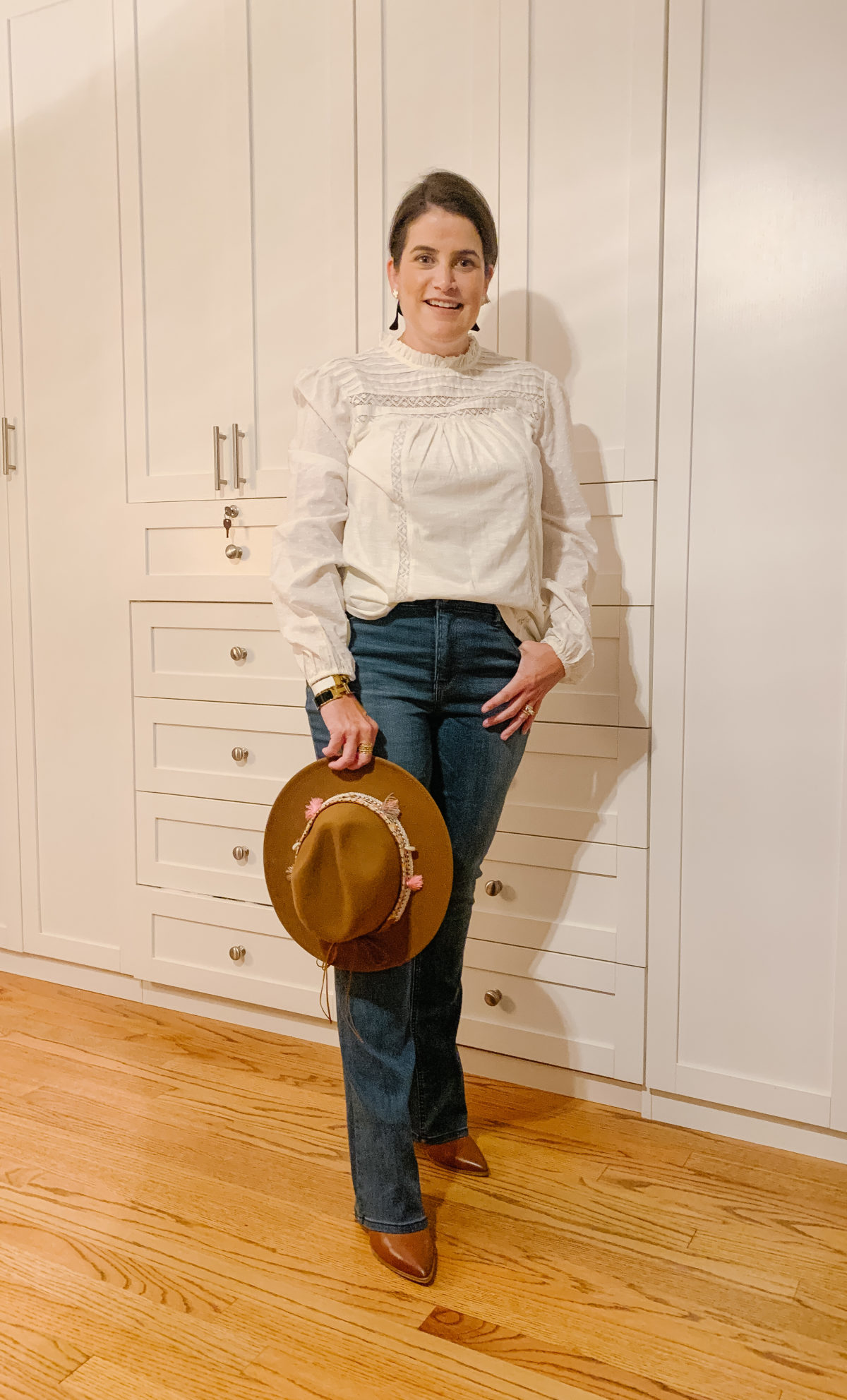 Nordstrom Sale, What Ali-Shaun Bought, White Pin Tuck Blouse, Bootcut Jeans, Booties, Hat