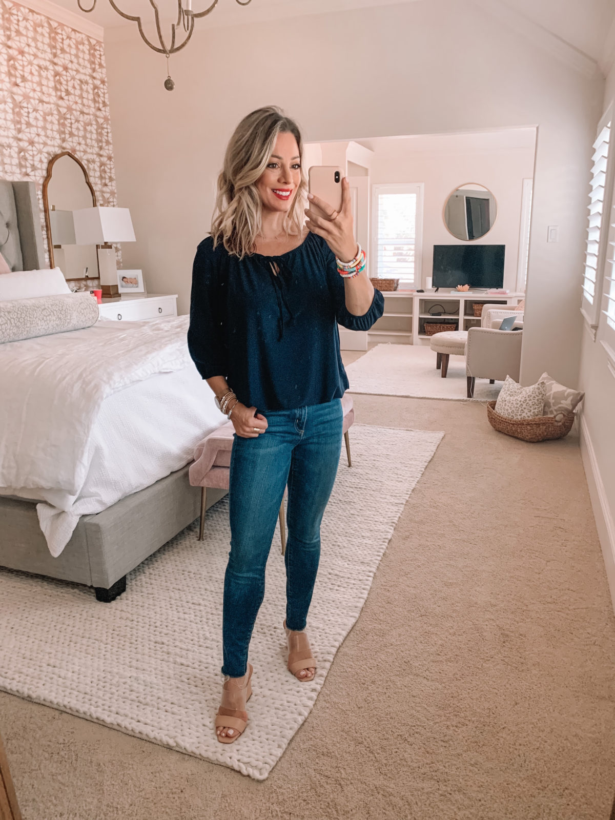 Amazon Fashion Finds, Peasant Top, Skinny Jeans, Sandals