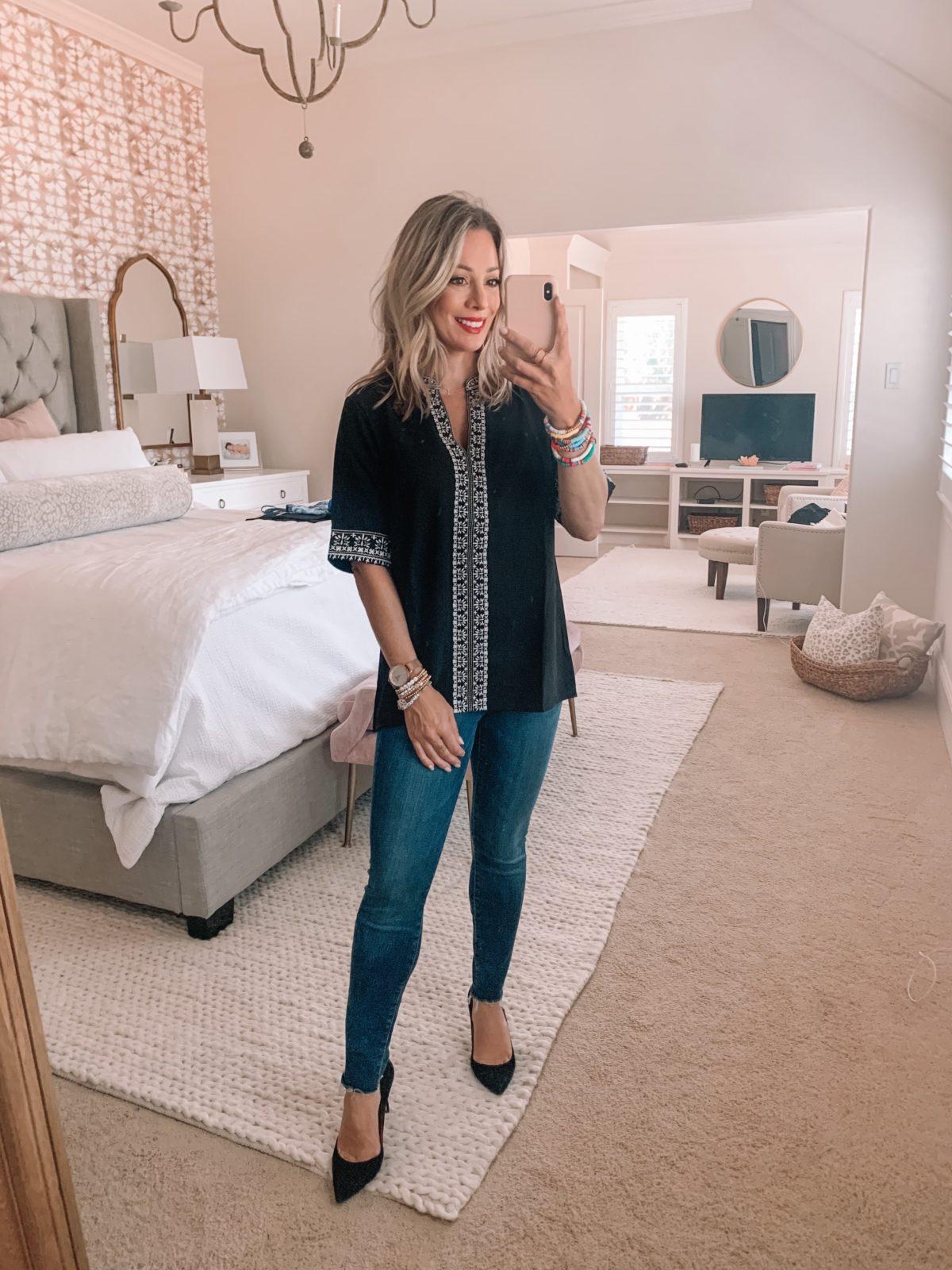 Amazon Fashion Finds, Boho Top, Skinny Jeans, Heels