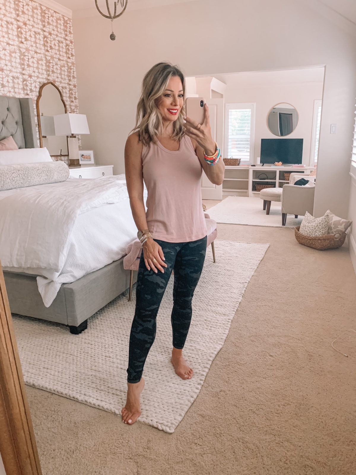 Amazon Fashion FInds, Pink Tank, Camo Leggings