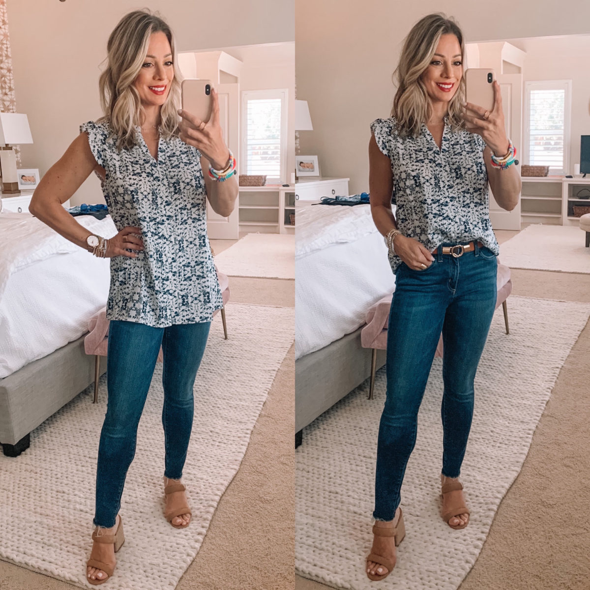 Amazon Fashion Finds, Sleevless Floral V Neck Top, Skinny Jeans, Sandals