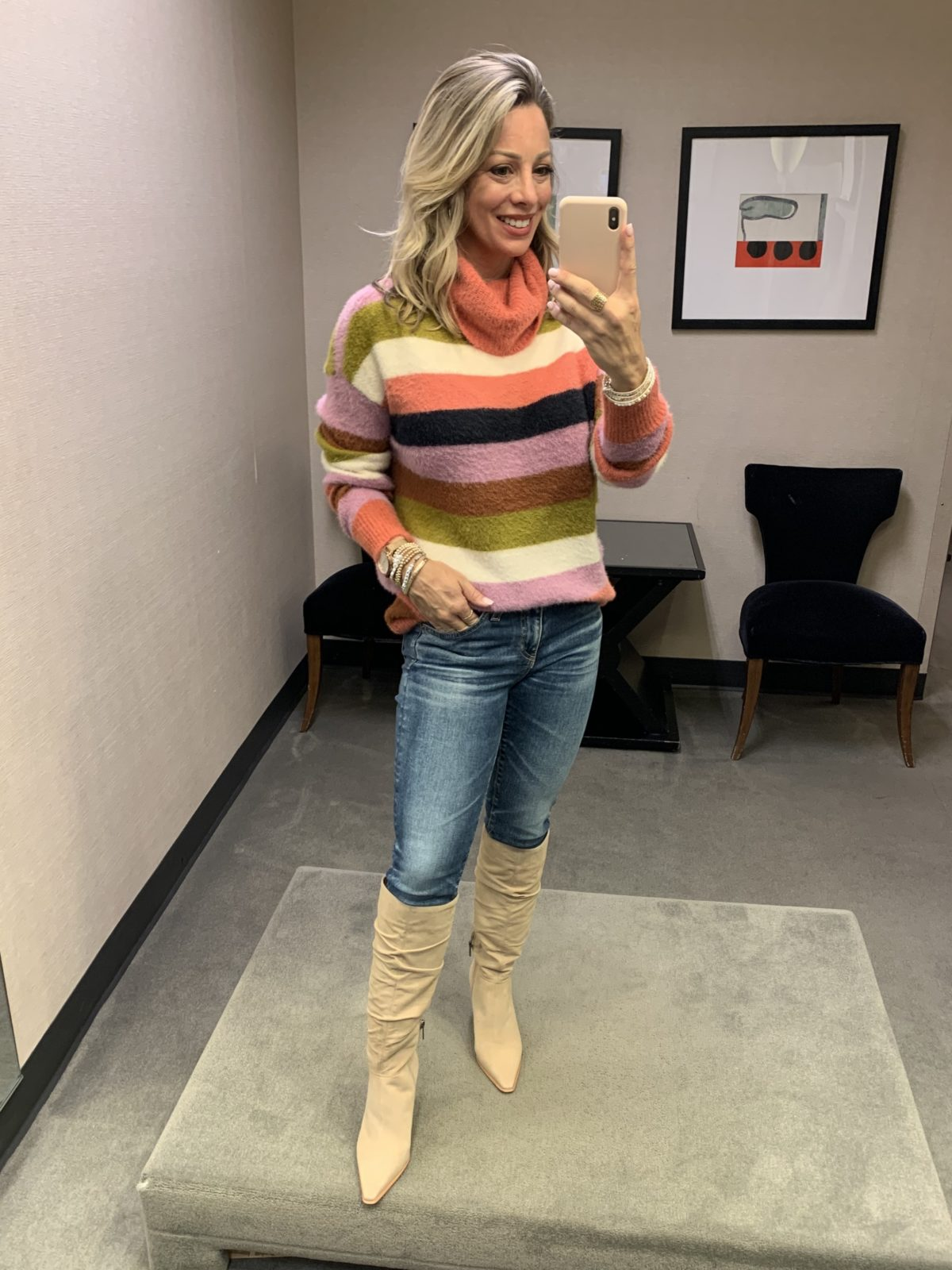 Nordstrom Anniversary Sale 2020 striped sweater jeans and boots