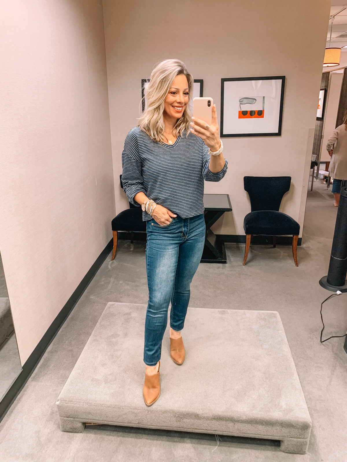 Nordstrom Anniversary Sale - jeans booties and striped top
