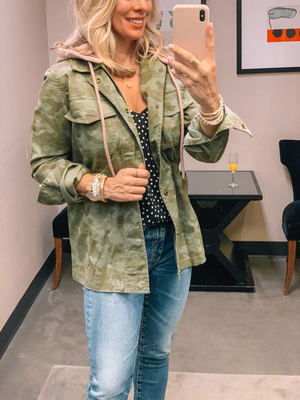 Nordstrom Anniversary Sale 2020 casual camo jacket blouse and jeans