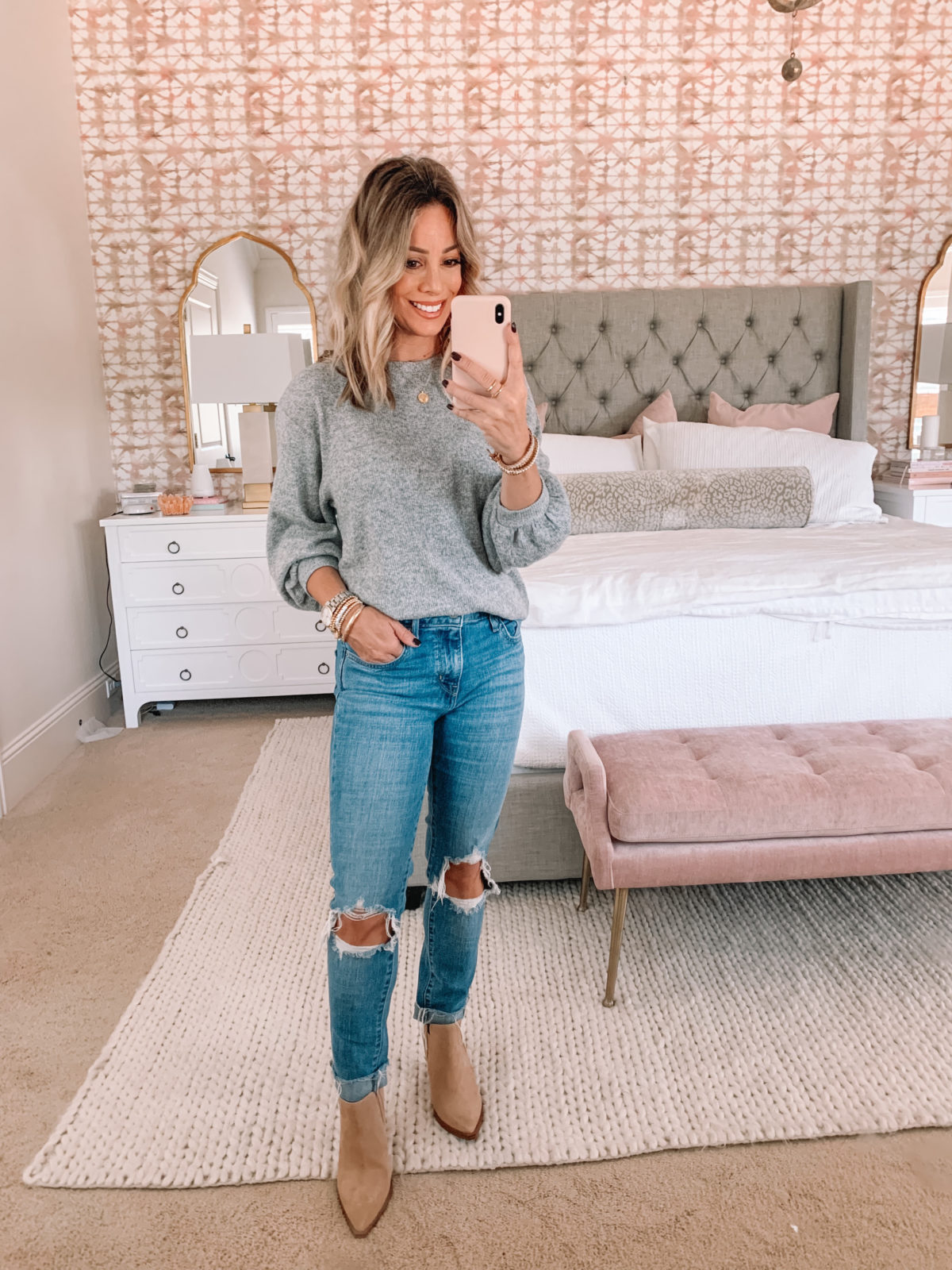 Amazon Fashion Faves, Puff Sleeve Sweater, Levis Jeans, Booties