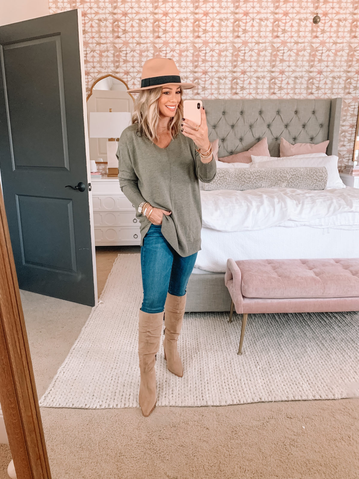 Amazon Fashion Faves, Sweater, Jeans, Knee High Boots, Hat