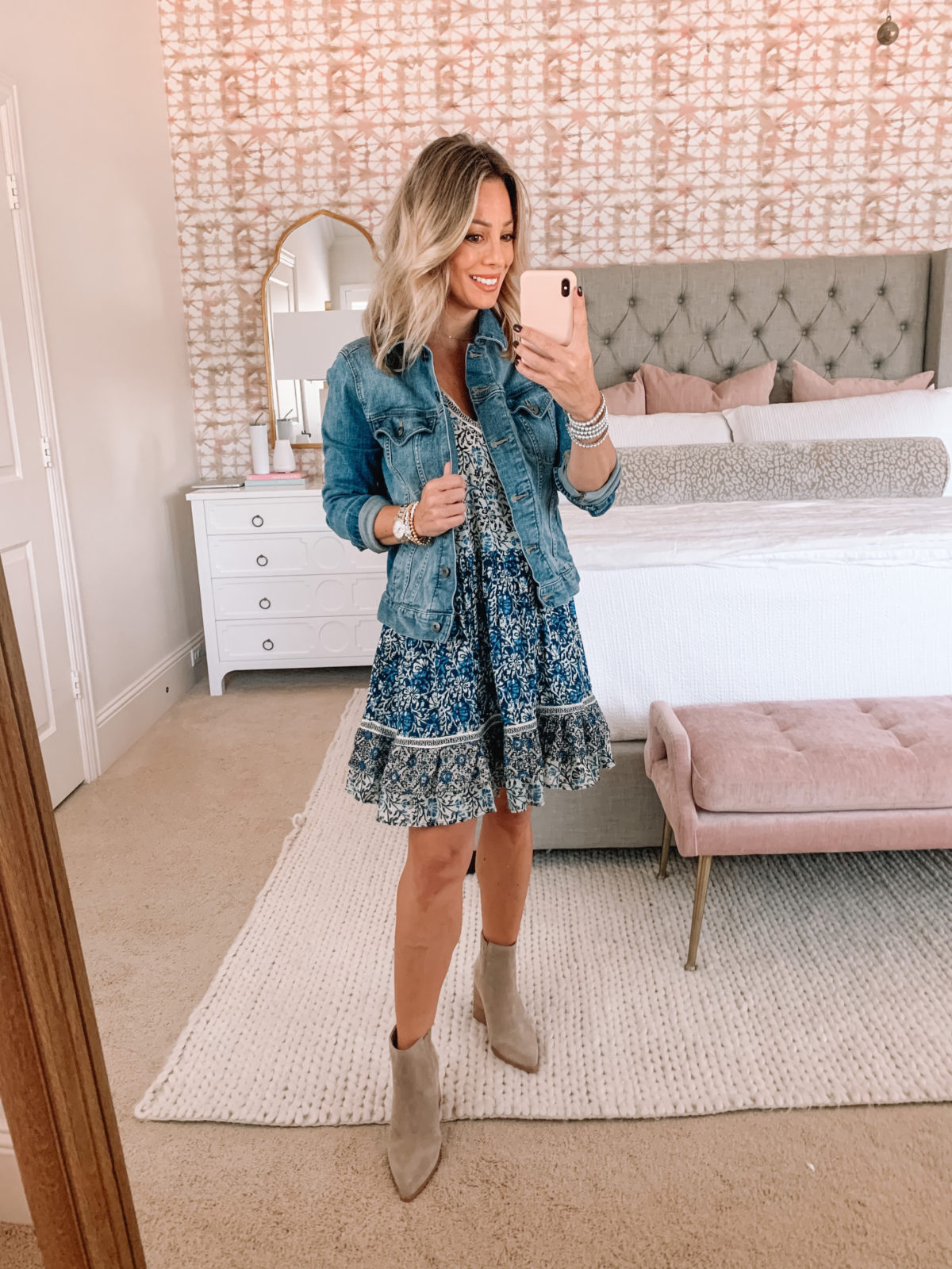 Red Dress Fashion Finds, Blue Floral Dress, Booties, Jean Jacket