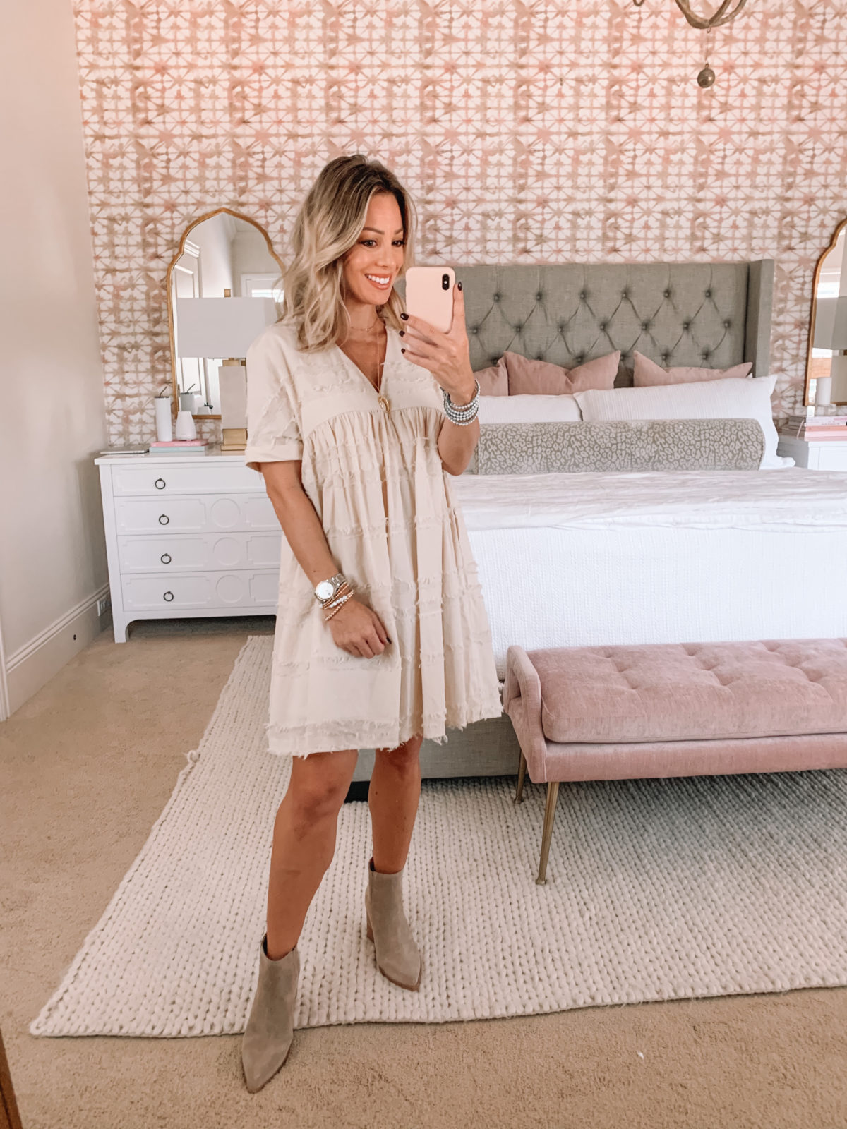 Red Dress Fashion Finds, Shift Dress, Booties