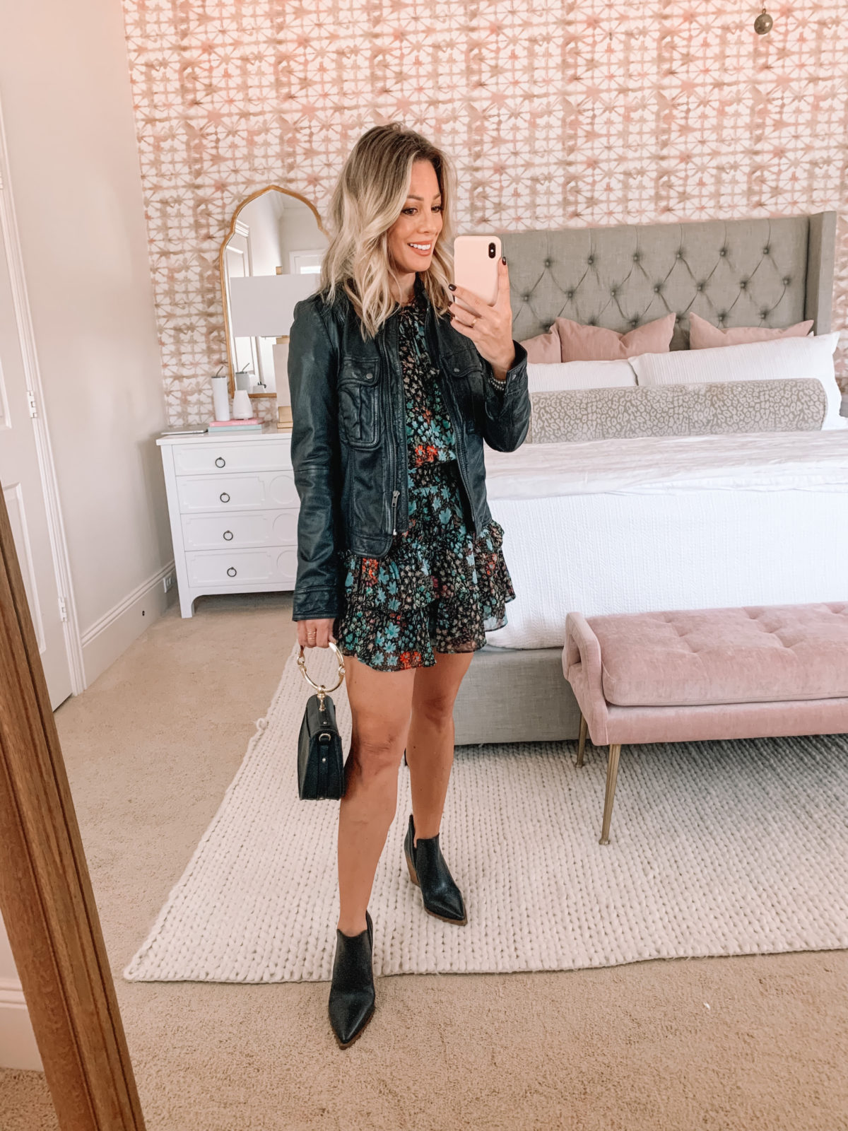 Red Dress Fashion Finds, Dress, Jacket, Booties, Clutch
