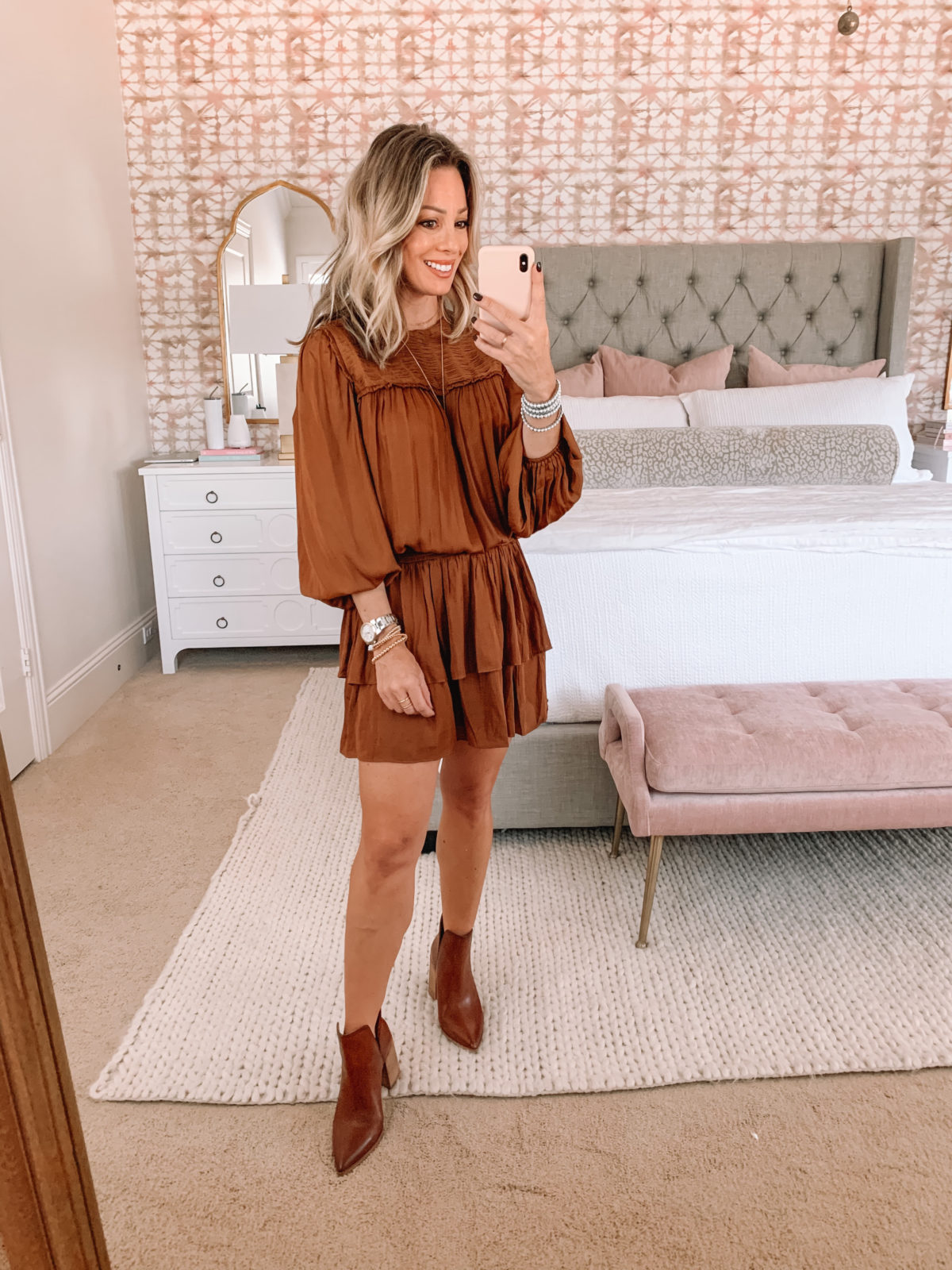 Red Dress Fashion Finds, Peasant Dress, Booties