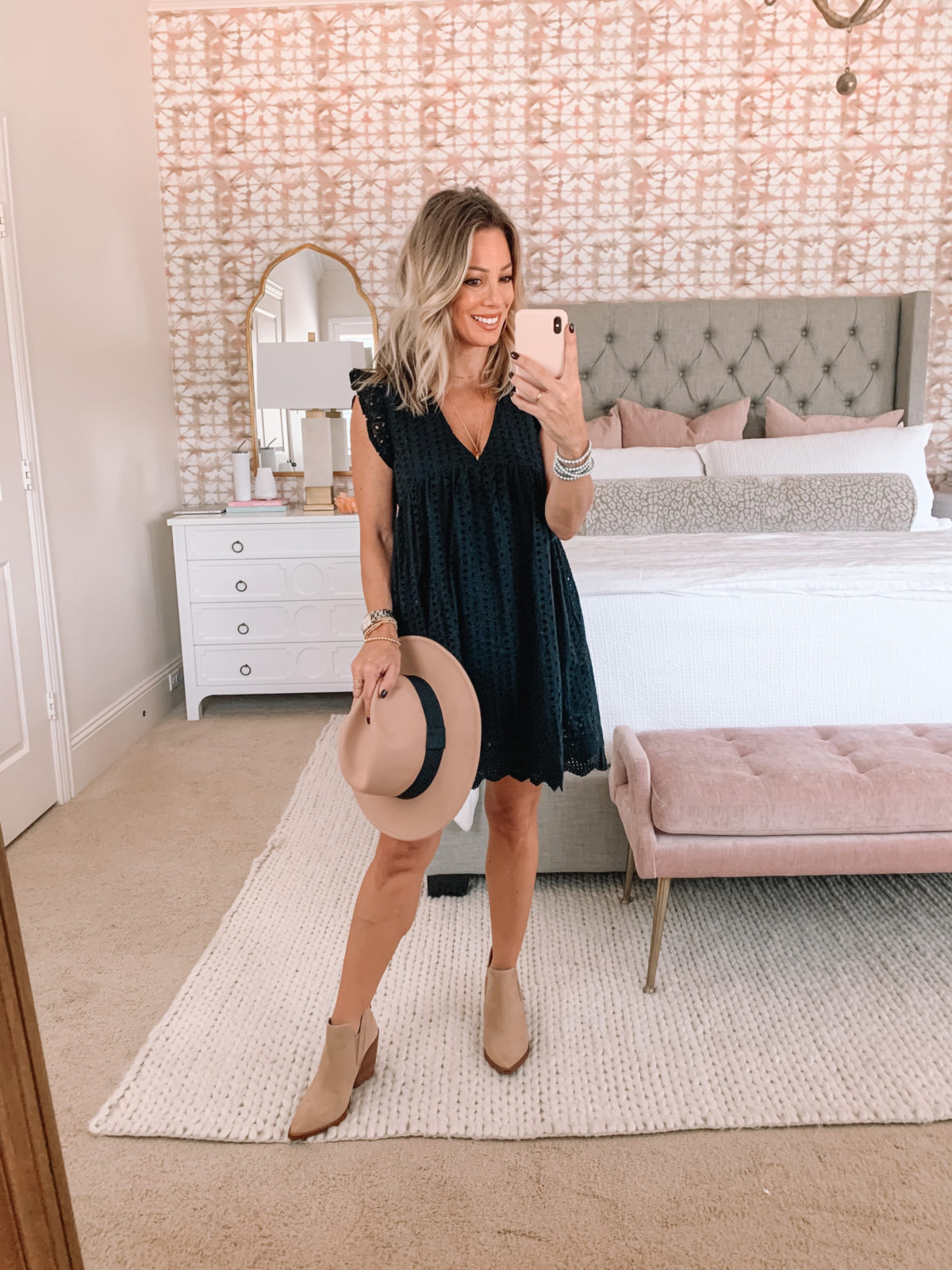 Red Dress Fashion Finds, Black eyelet Dress, Booties, Hat