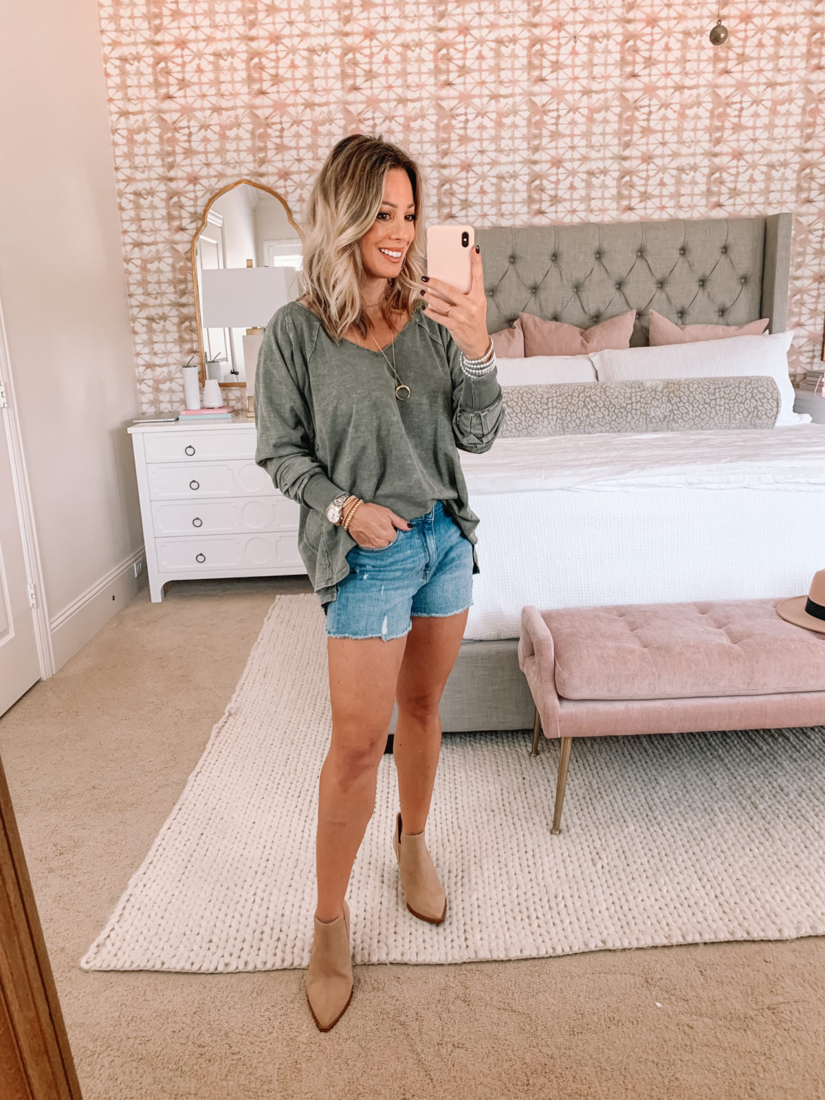 Red Dress Fashion Finds, Long Sleeve Tee, Jean Shorts, Booties
