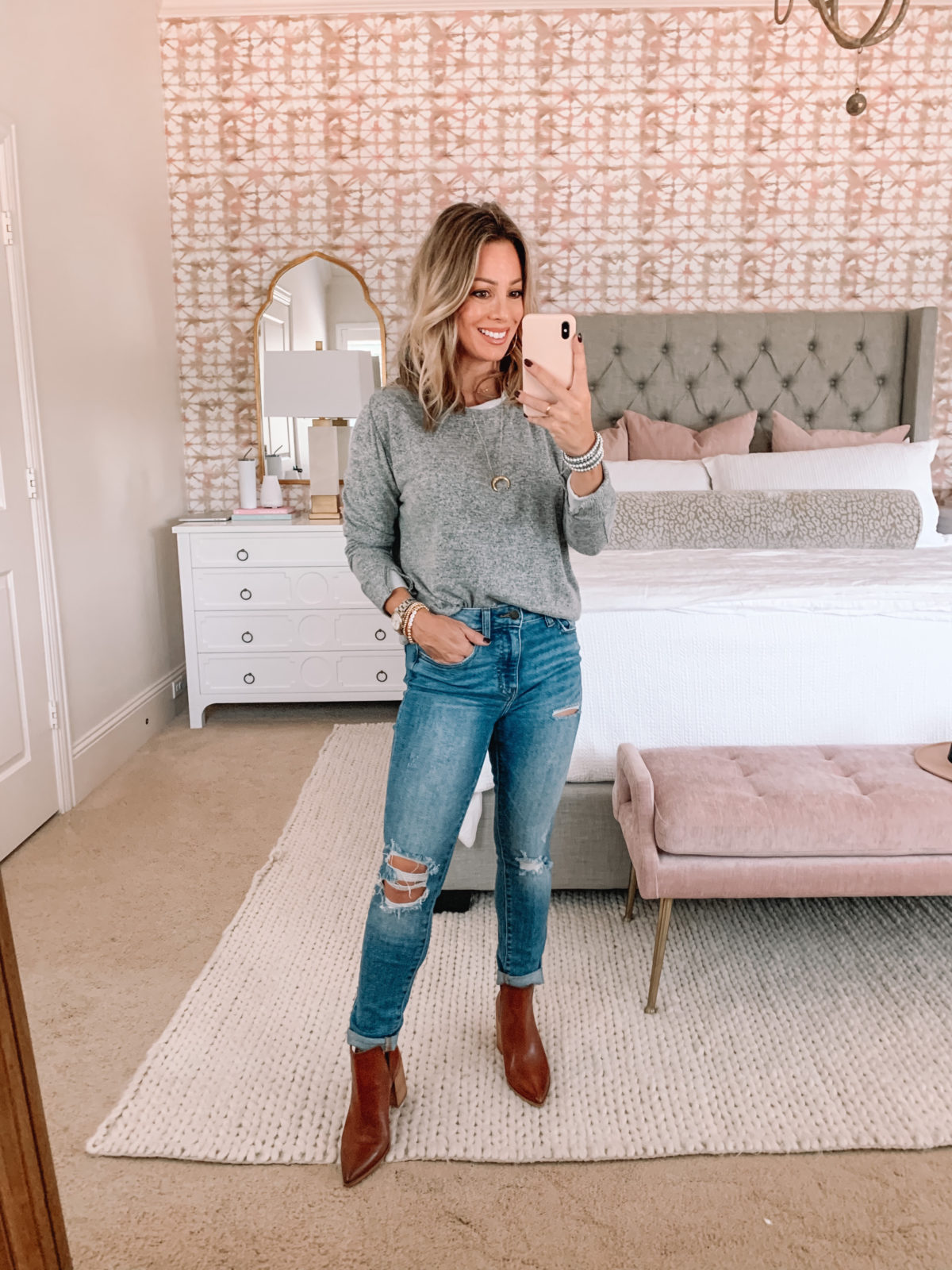Red Dress Fashion Finds, Sweater, Jeans, Booties