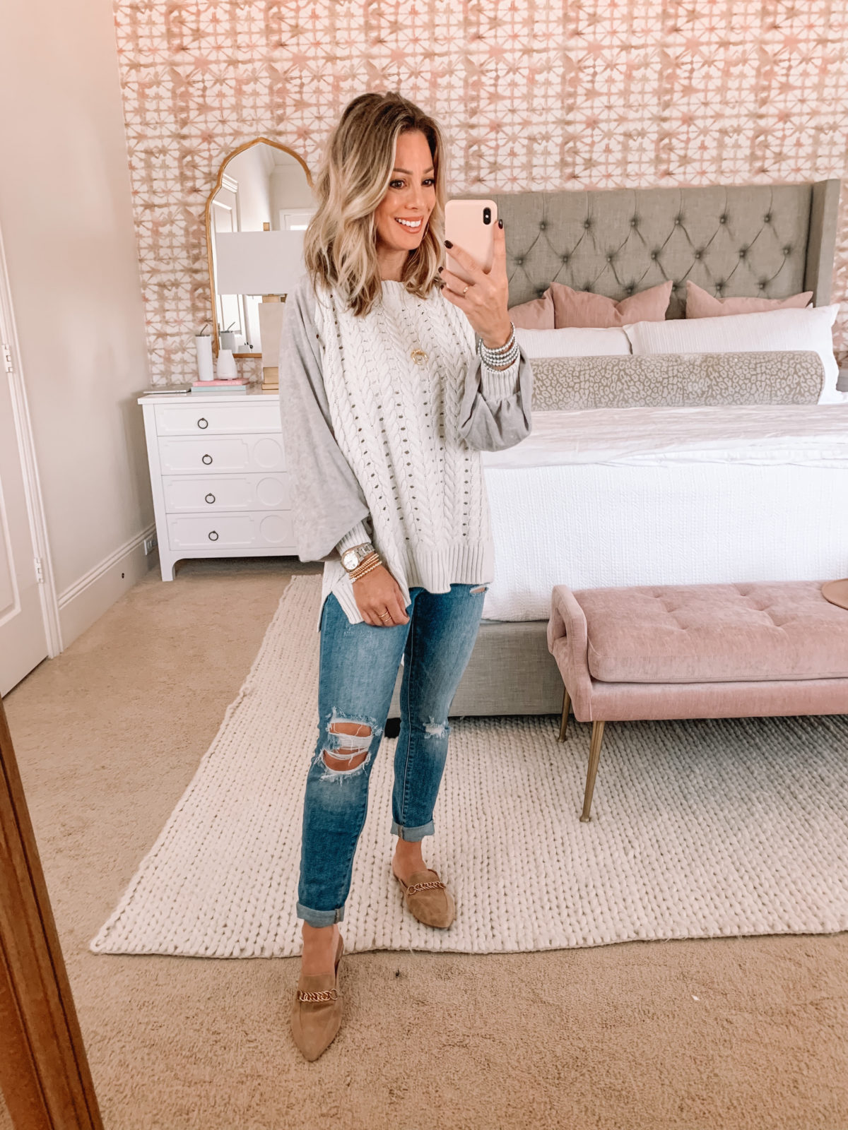 Red Dress Fashion Finds, Cable Knit Sweater, Jeans, Mules