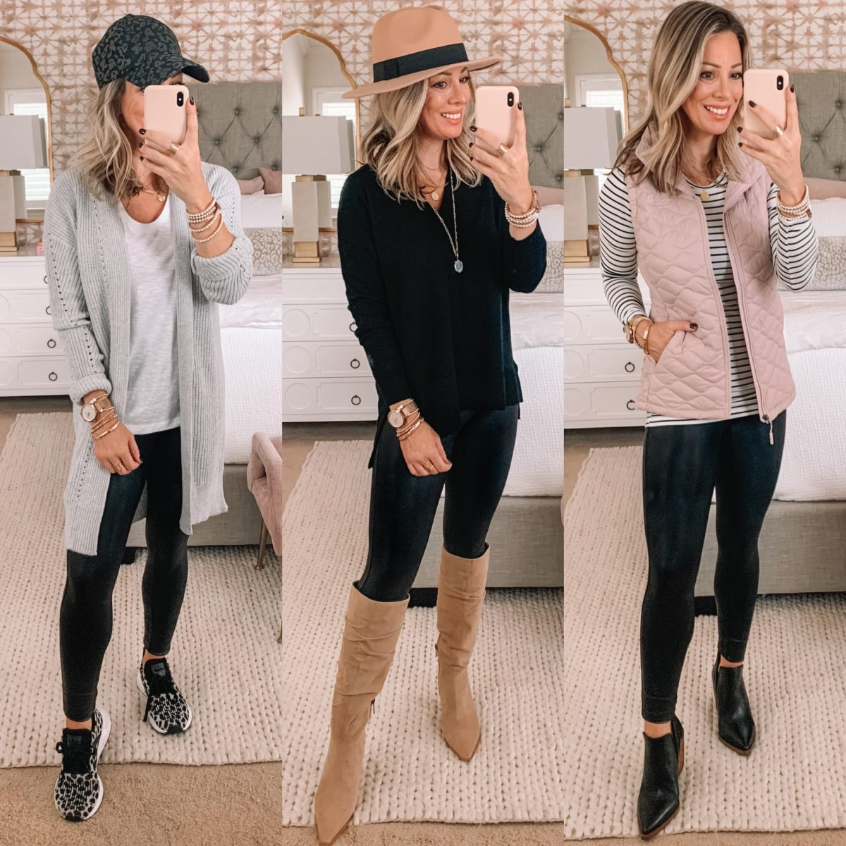 Nordstrom Sale Fashion Finds, Cardigan, Leopard Hat, Tee, Leggings, Sweater, Boots, Quilted Vest, Striped Tee, Booties