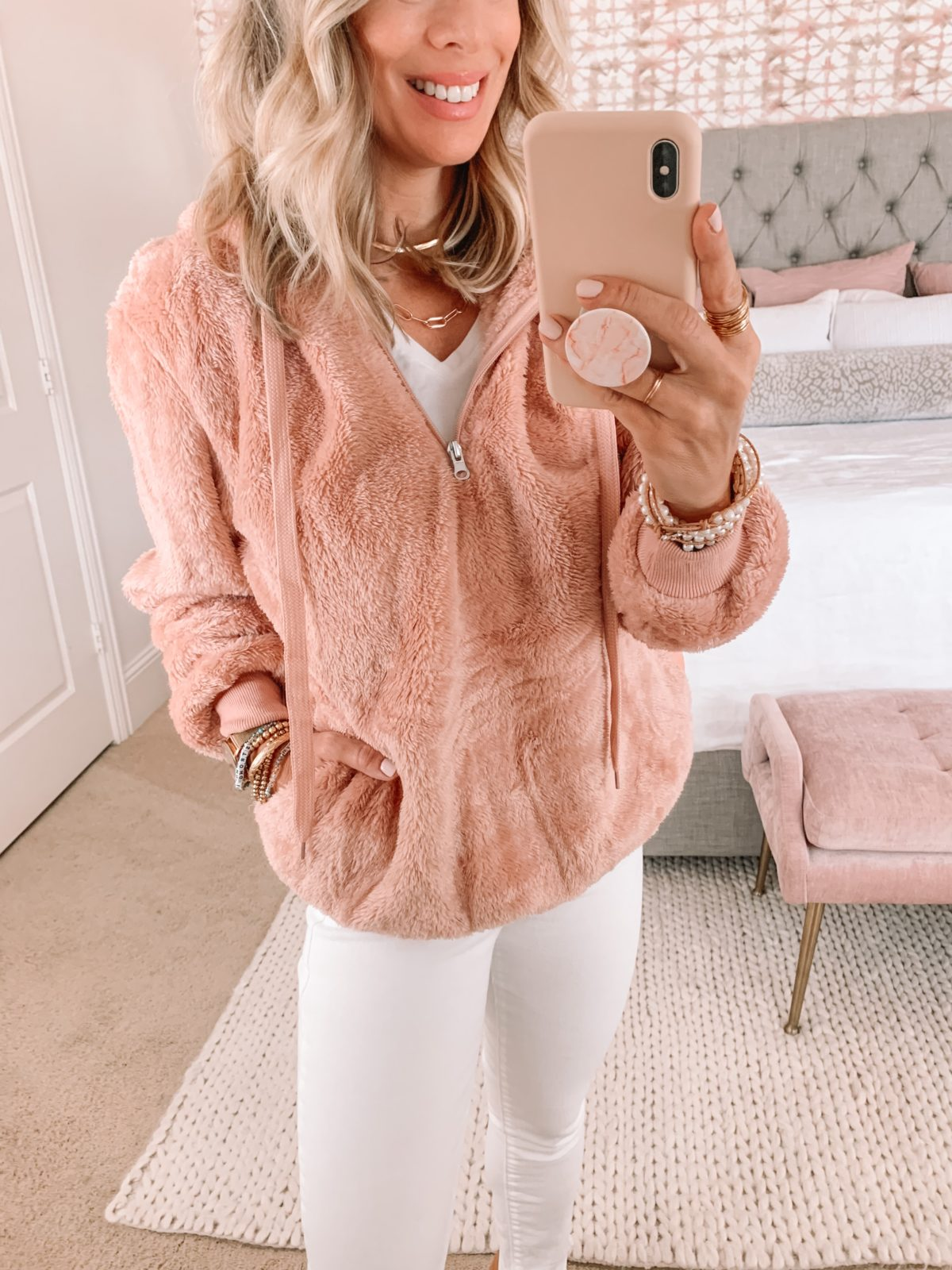 Amazon Fashion Faves, Pink Pullover, White Denim