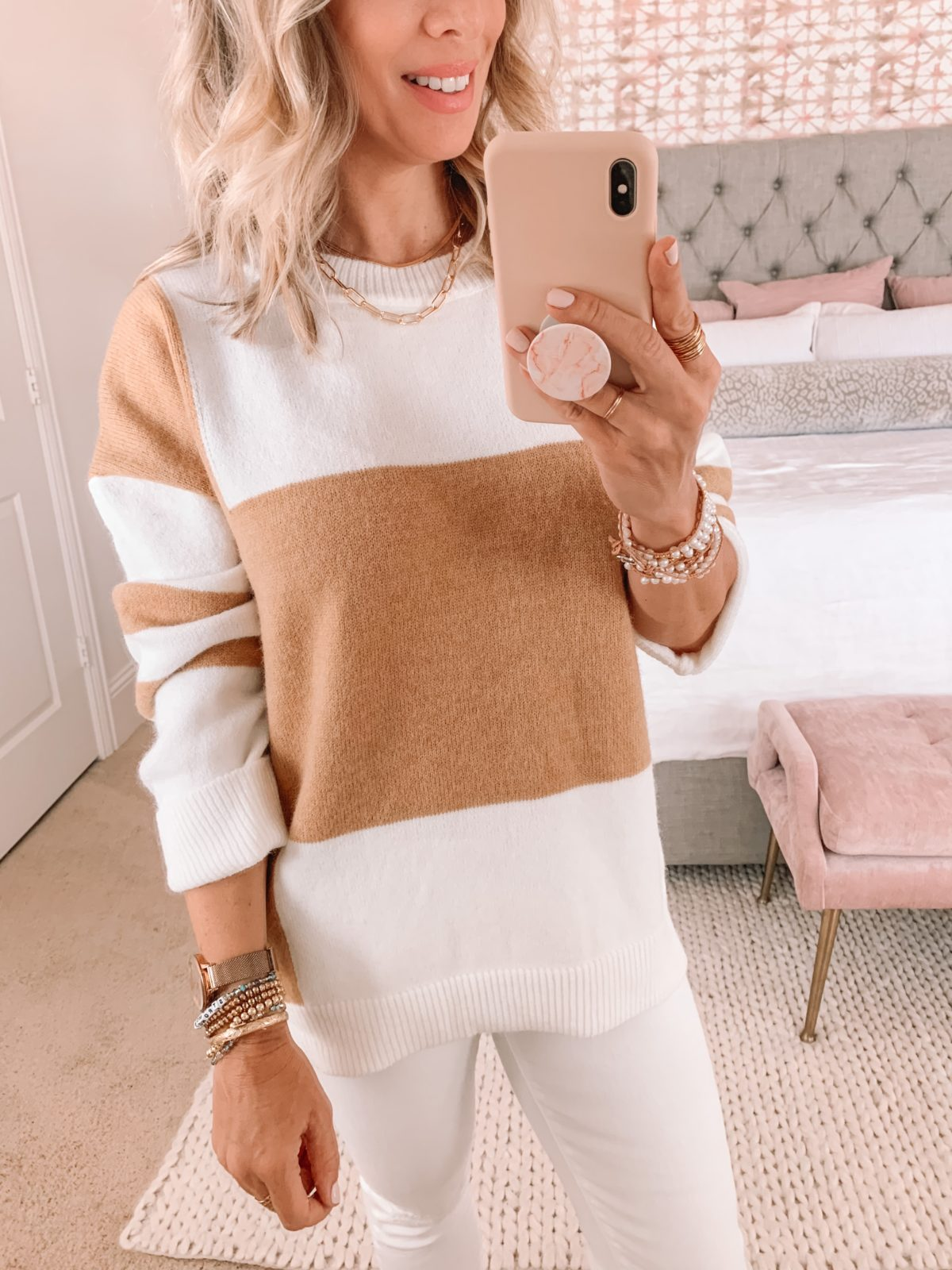 Amazon Fashion Faves, Colorblock Sweater, White Jeans, Denim, Fall Outfit