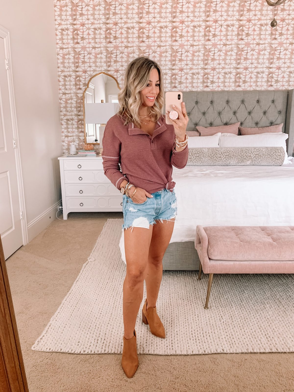 Amazon Fashion Faves, Fall Outfit, Denim Shorts, Waffle Knit Long Sleeve, Booties