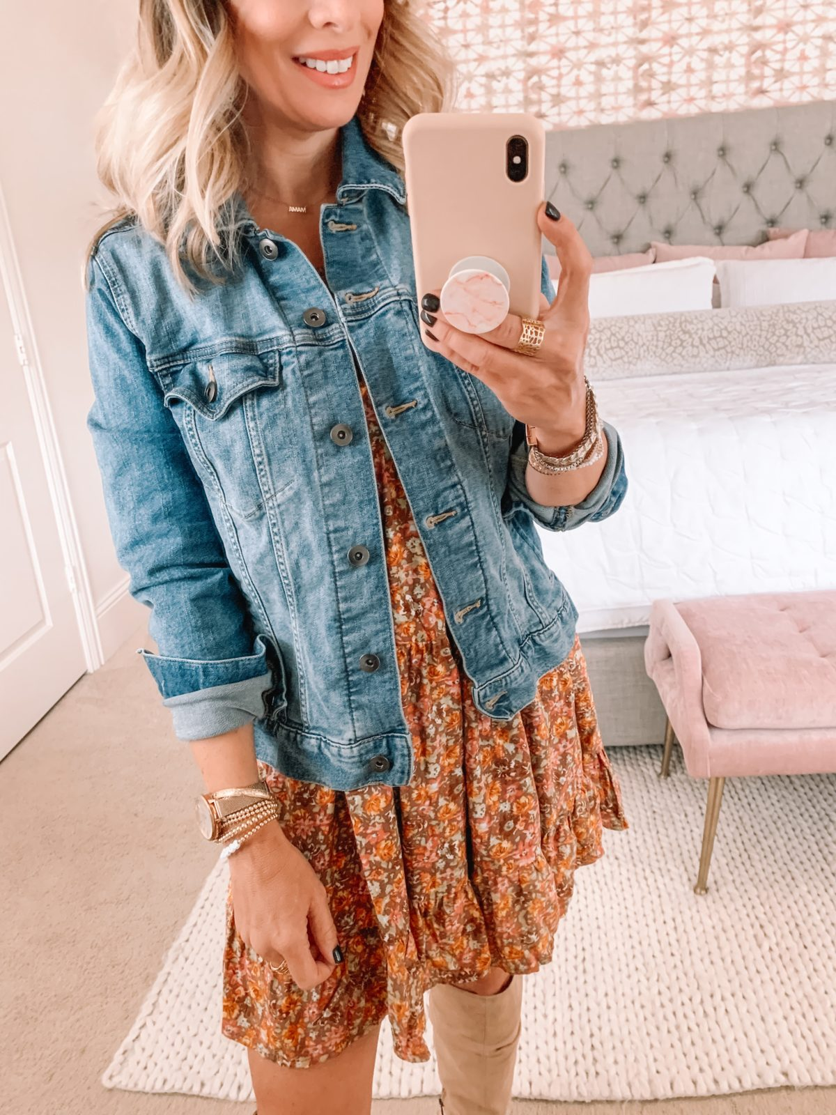 Dressing Room Finds, Target, Denim Jacket, Floral Dress