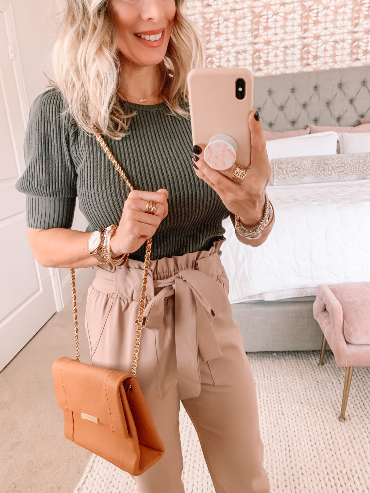 Dressing Room Finds, Express, Short sleeve ribbed sweater, Paperbag Waist Pants, Crossbody