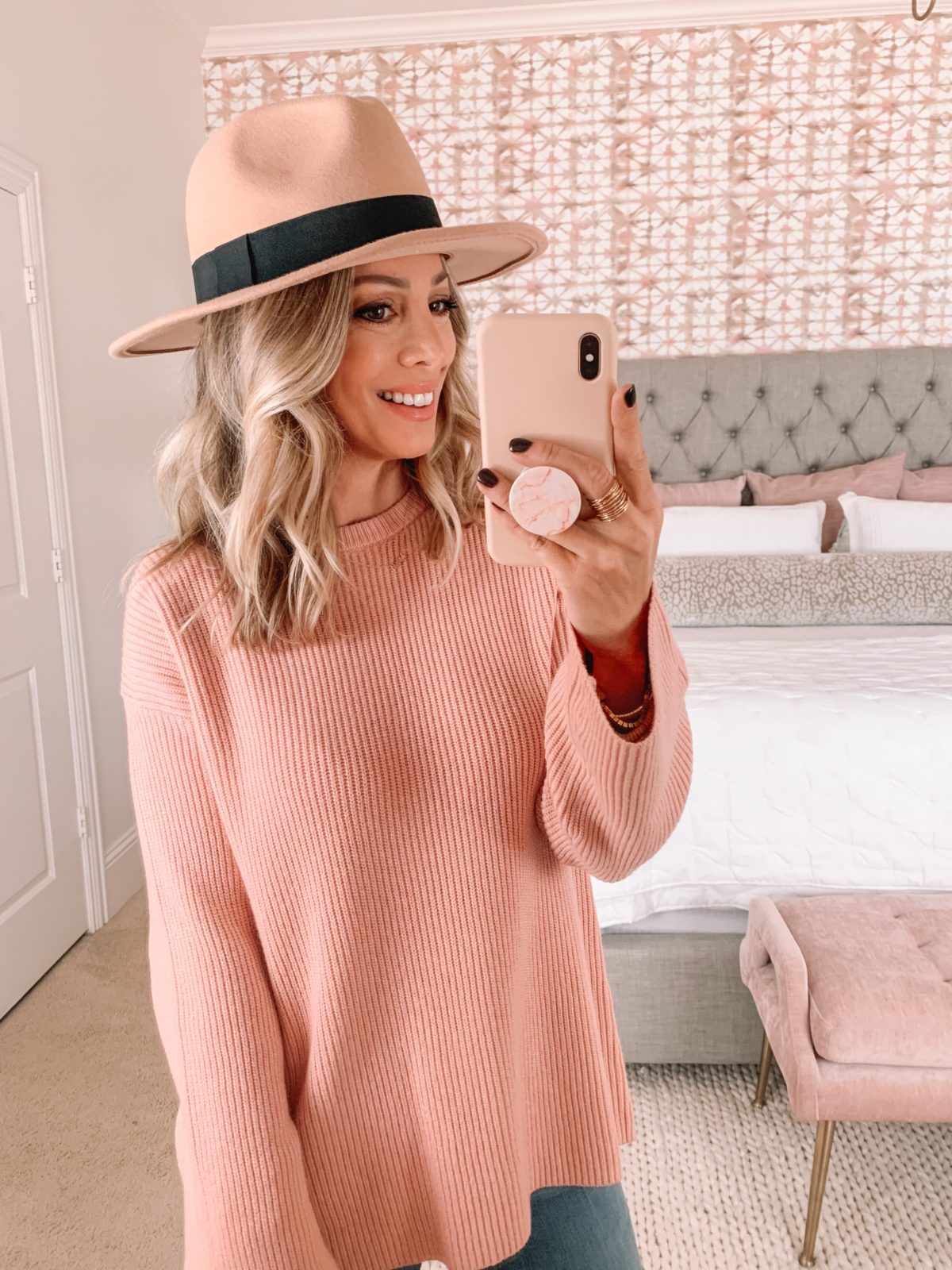 Amazon Fashion Faves, Pink Crew Neck Ribbed Sweater, Hat