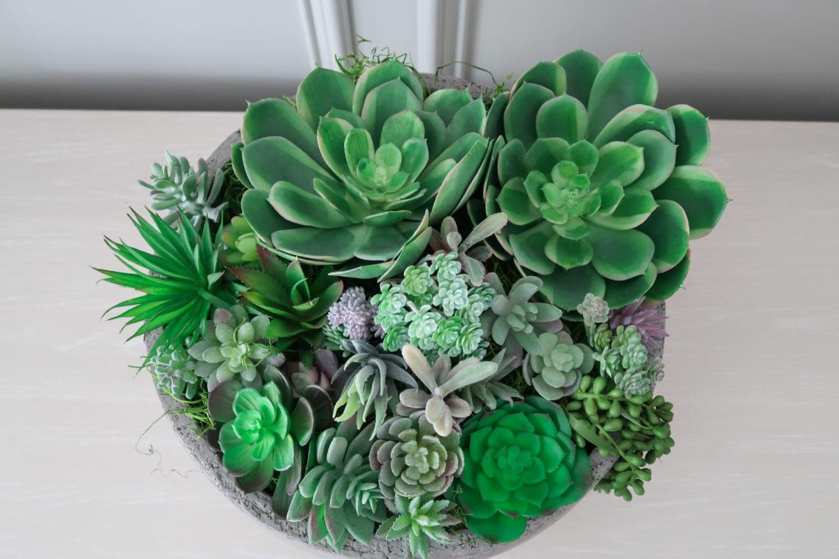 diy faux succulent bowl