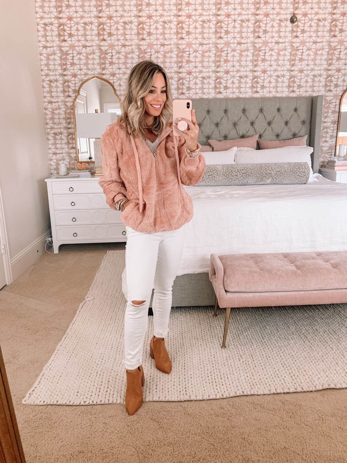 Amazon Fashion Faves, Pink Pullover, White Denim, Booties