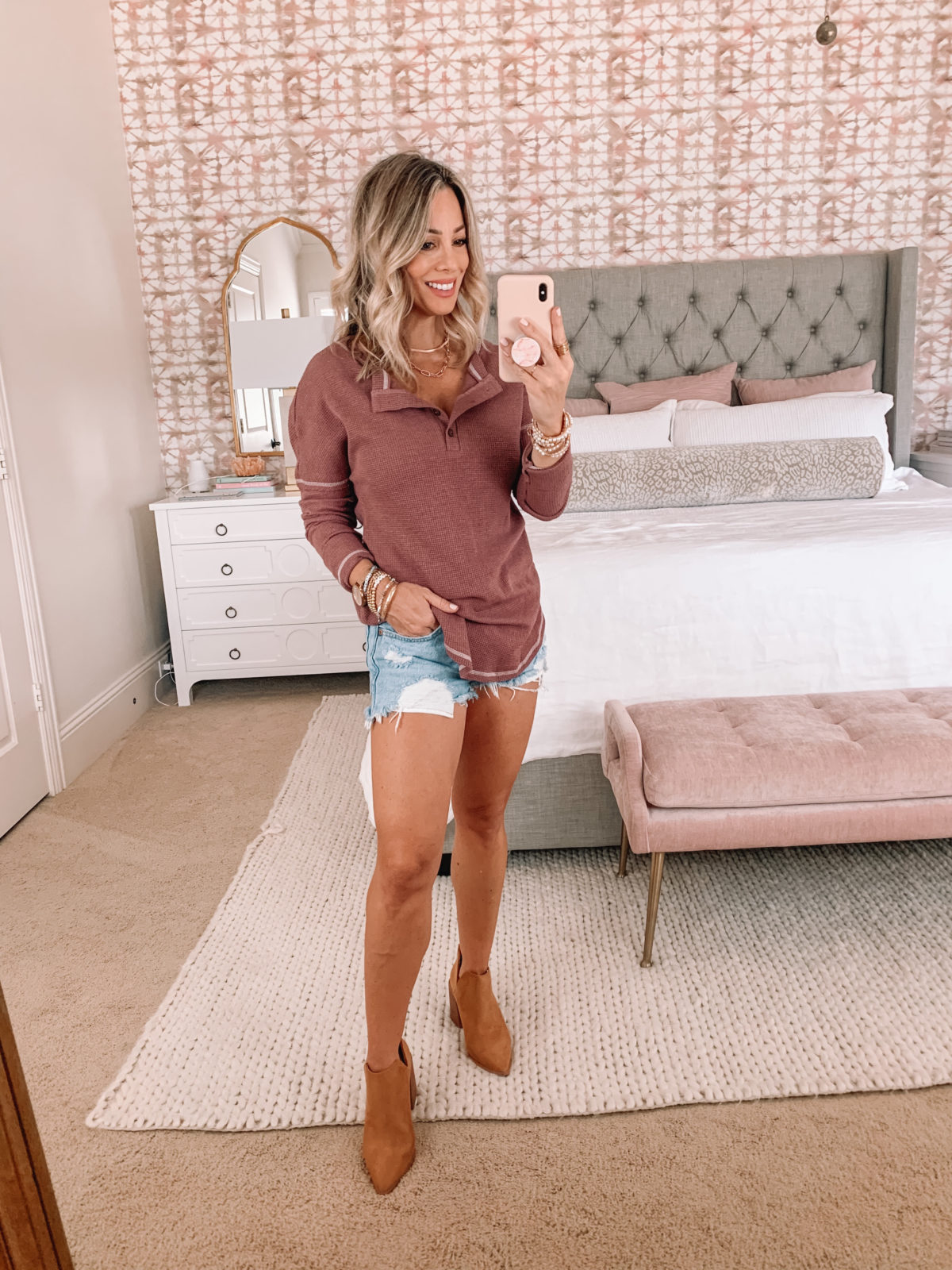Amazon Fashion Faves, Fall outfit, Denim Short and Waffle Knit Top