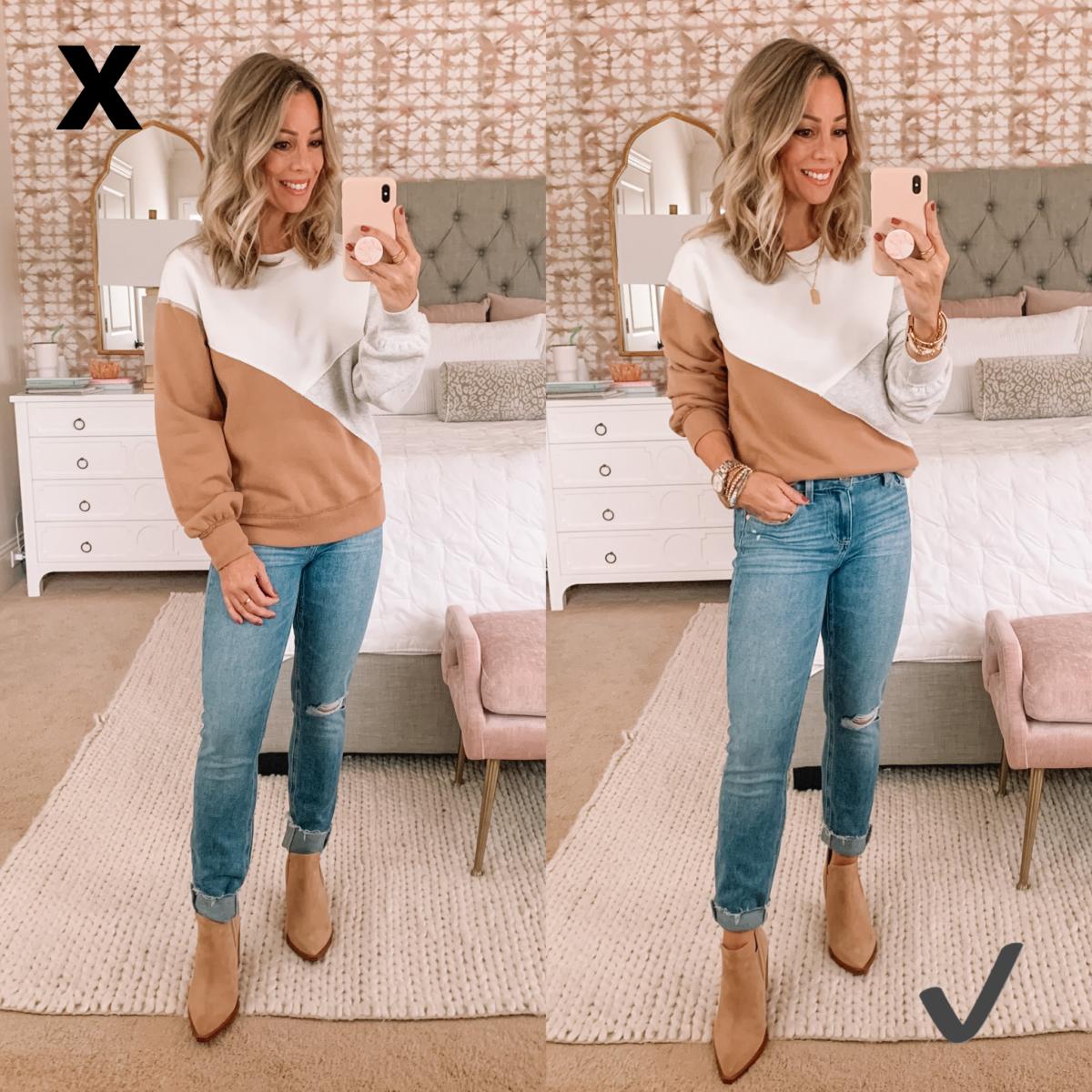 Abercrombie sweatshirt and jeans