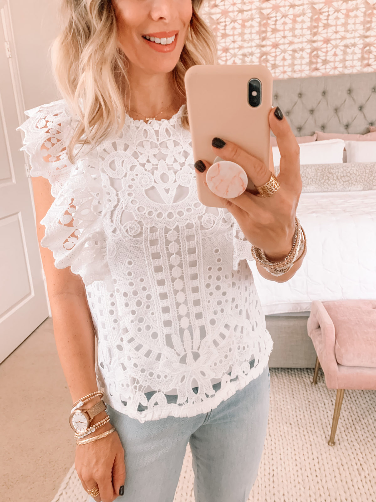 Dressing Room Finds Express, Lace Top, Jeans