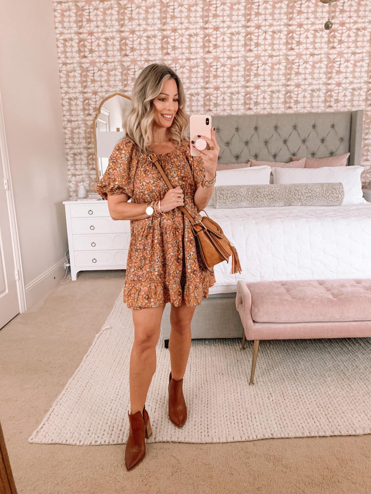 Dressing Room Finds, Target, Floral Dress, Booties, Crossbody